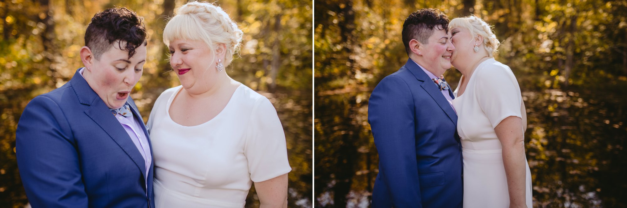 October Jewish lesbian wedding at Foxfire Mountain House in Upstate New York. Sharing a secret.