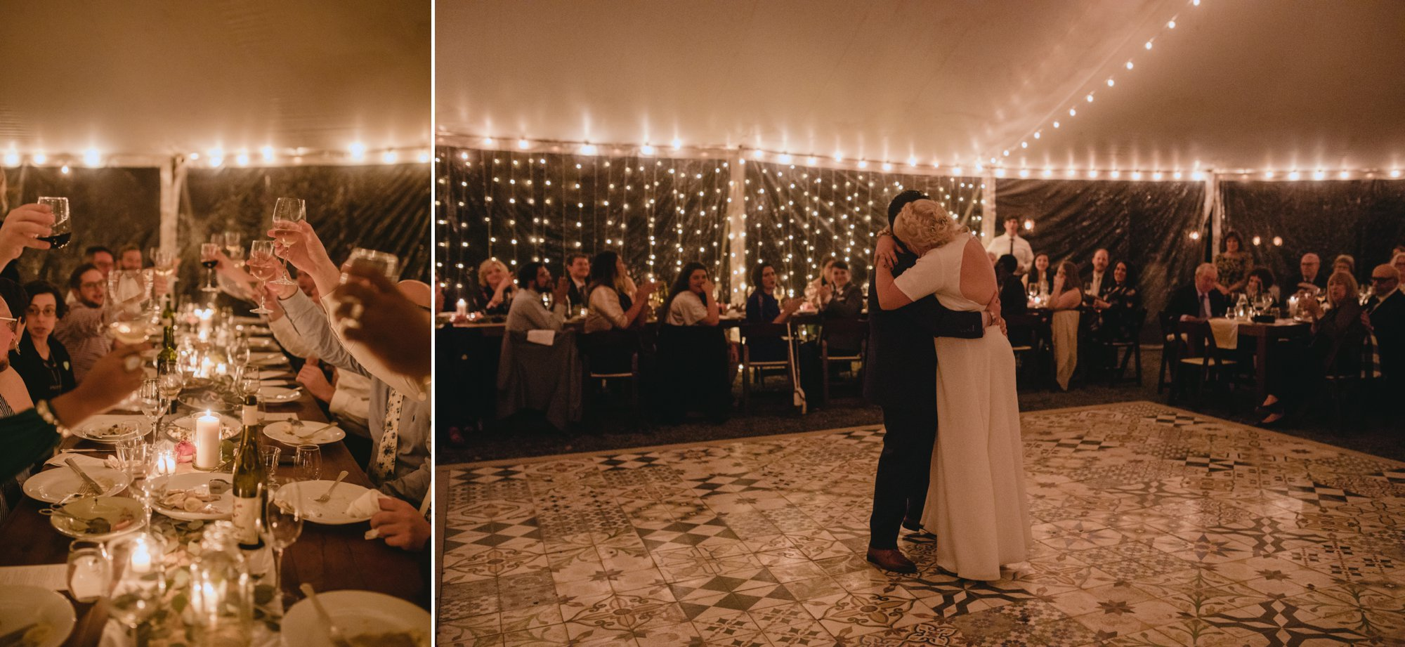 October Jewish lesbian wedding at Foxfire Mountain House in Upstate New York. First dance.