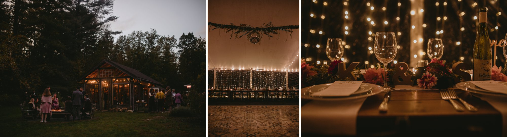 October Jewish lesbian wedding at Foxfire Mountain House in Upstate New York. Nighttime reception.