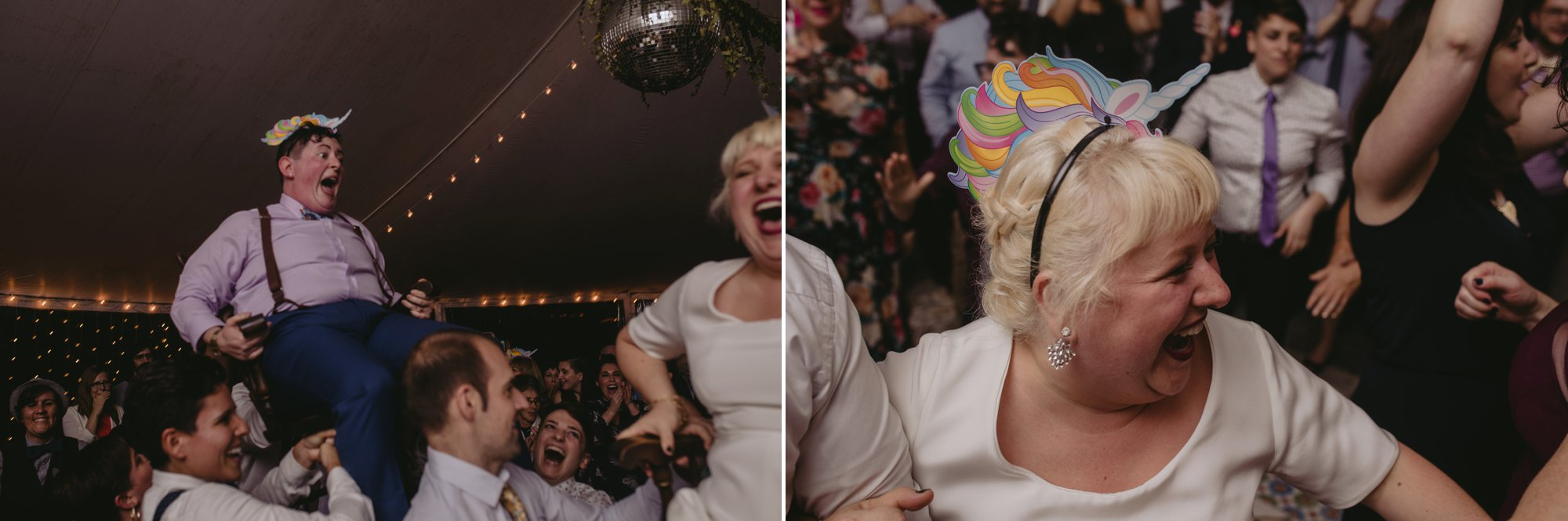 October Jewish lesbian wedding at Foxfire Mountain House in Upstate New York. Party party party.