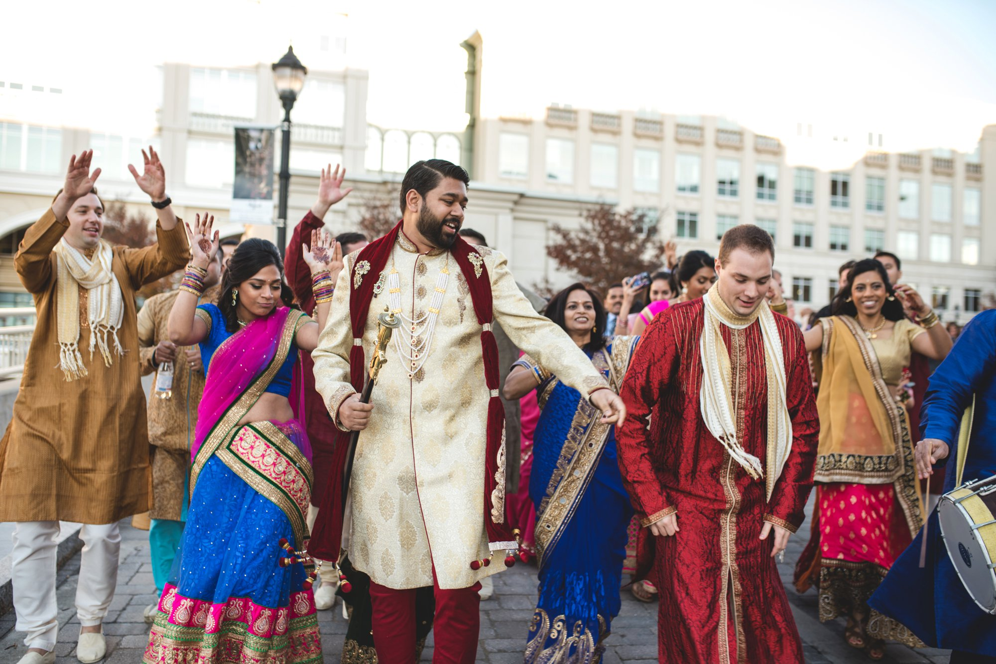 Washington DC colorful Indian wedding with a feminist bride. Baraat.