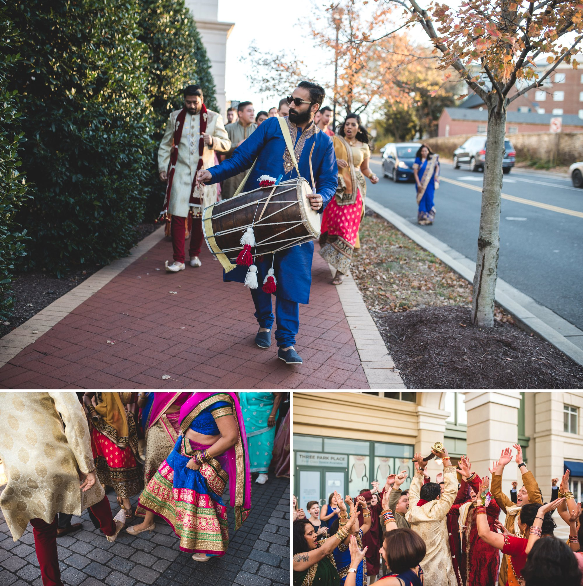 Washington DC colorful Indian wedding with a feminist bride. Baraat. Groom's processional.