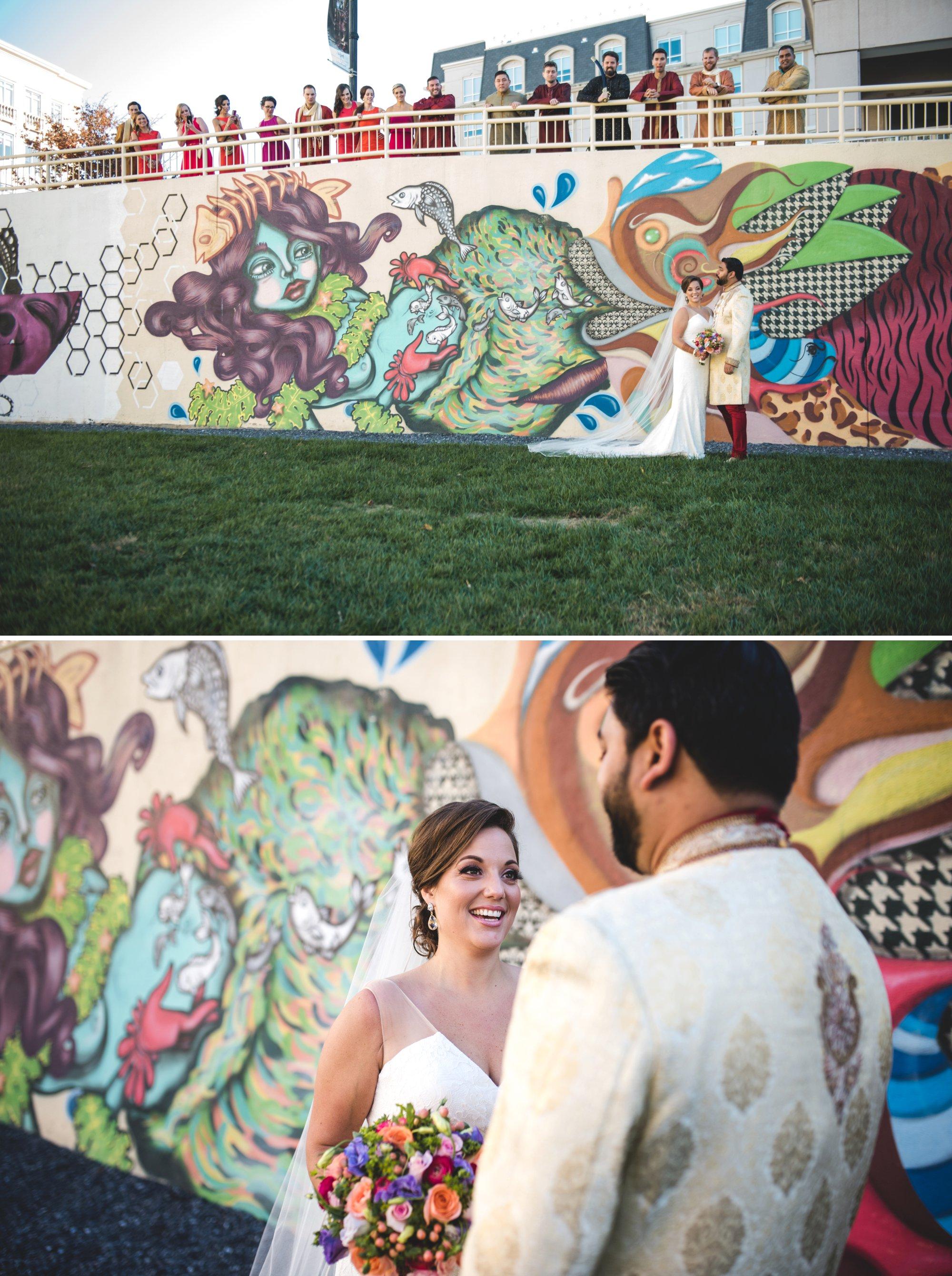 Washington DC colorful Indian wedding with a feminist bride. Bridal party portrait.