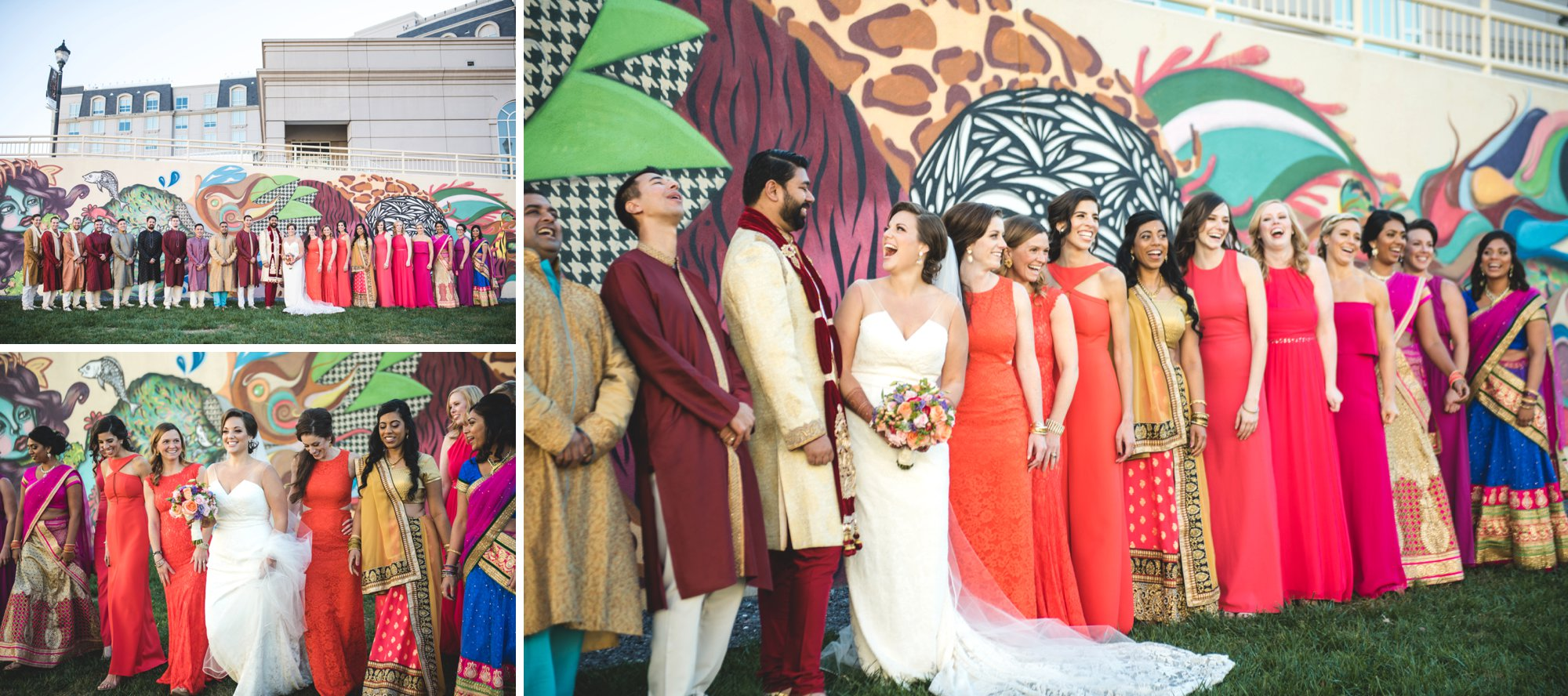 Washington DC colorful Indian wedding with a feminist bride. Diverse bridal party.