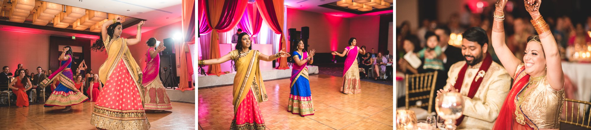 Washington DC colorful Indian wedding with a feminist bride. Traditional dance.