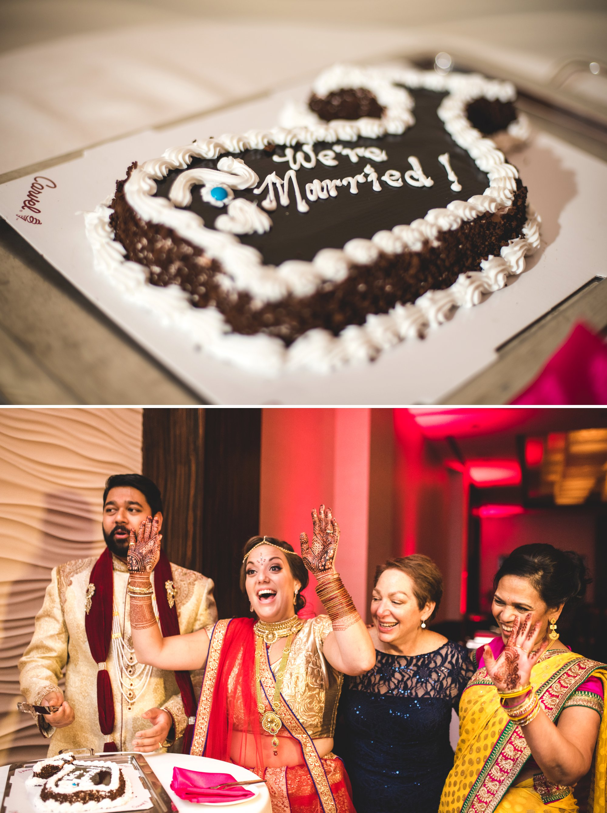 Washington DC colorful Indian wedding with a feminist bride. Cake cutting