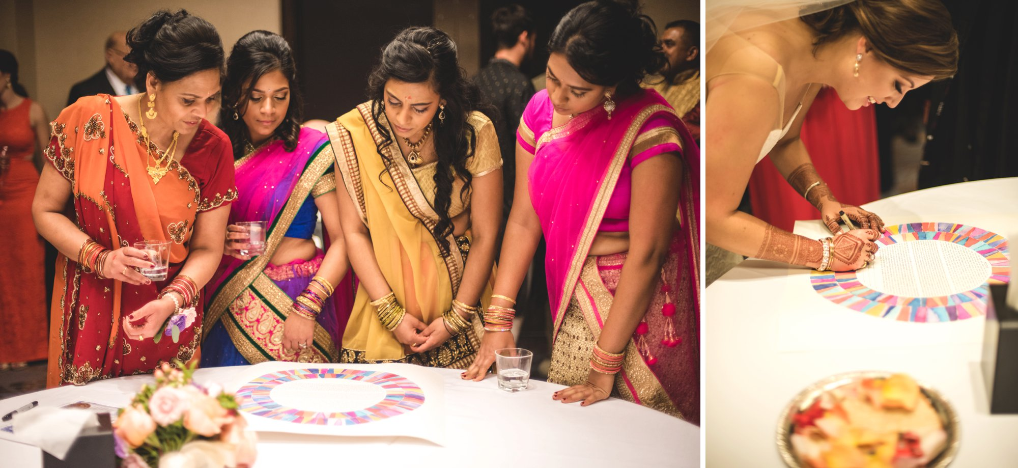Washington DC colorful Indian wedding with a feminist bride. Ketubah signing.