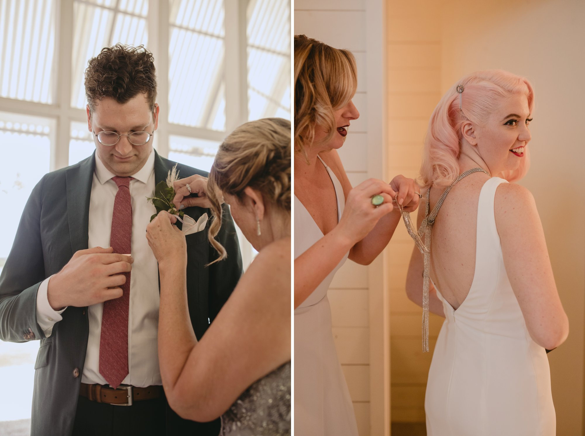 Bride with pink hair and groom in a purple suit prospect house wedding in austin tx with pastel decor and wild florals getting ready