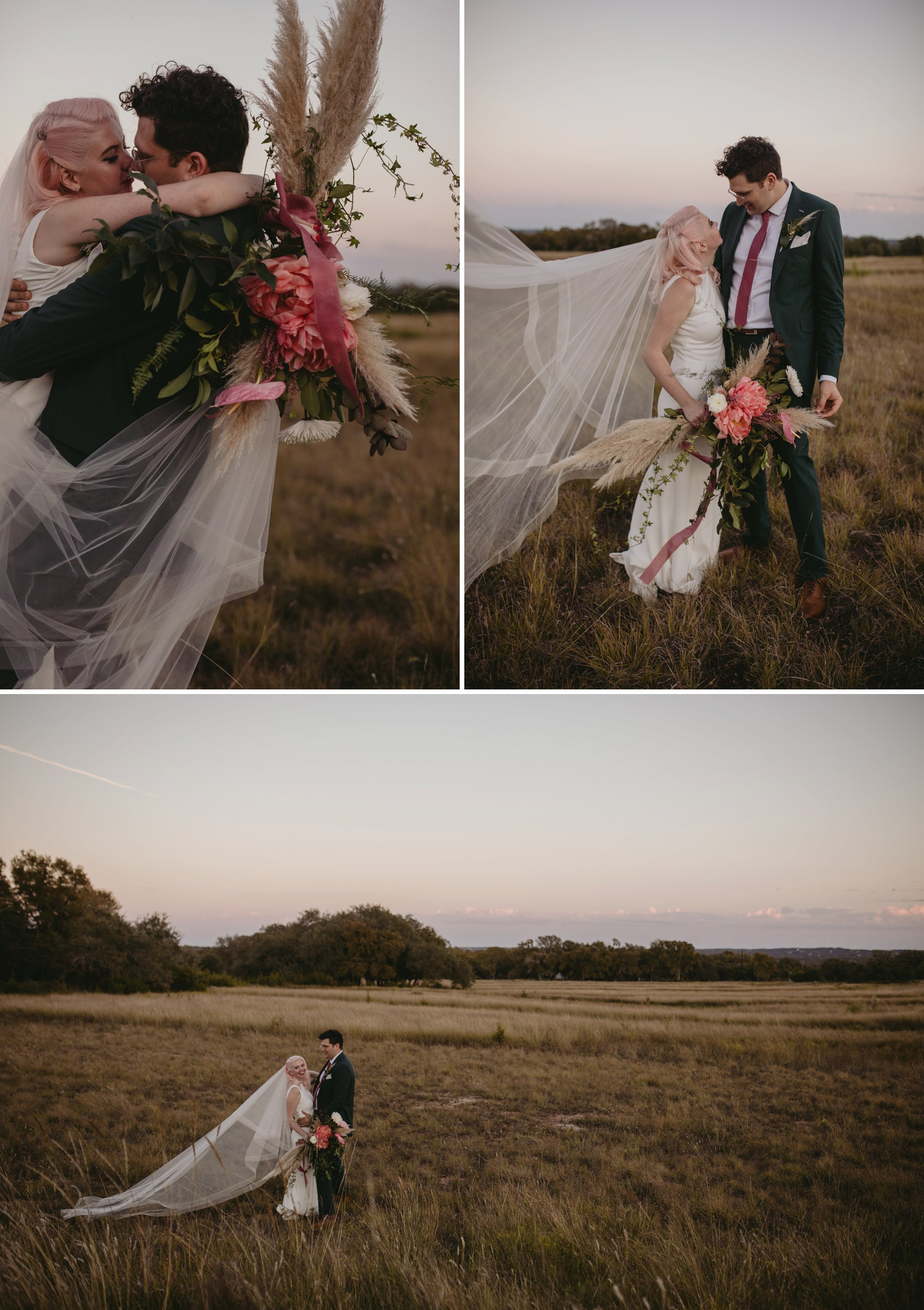 Bride with pink hair and groom in a purple suit prospect house wedding in austin tx with pastel decor and wild florals meadow portraits