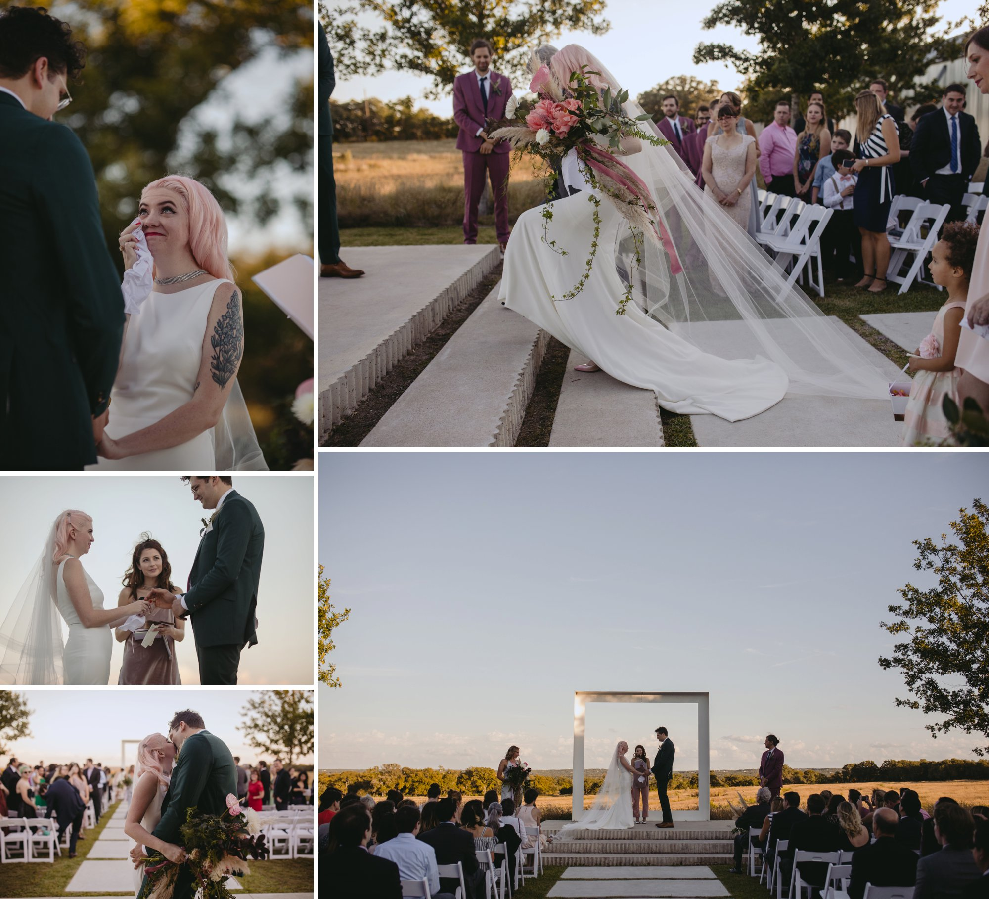 Bride with pink hair and groom in a purple suit prospect house wedding in austin tx with pastel decor and wild florals ceremony