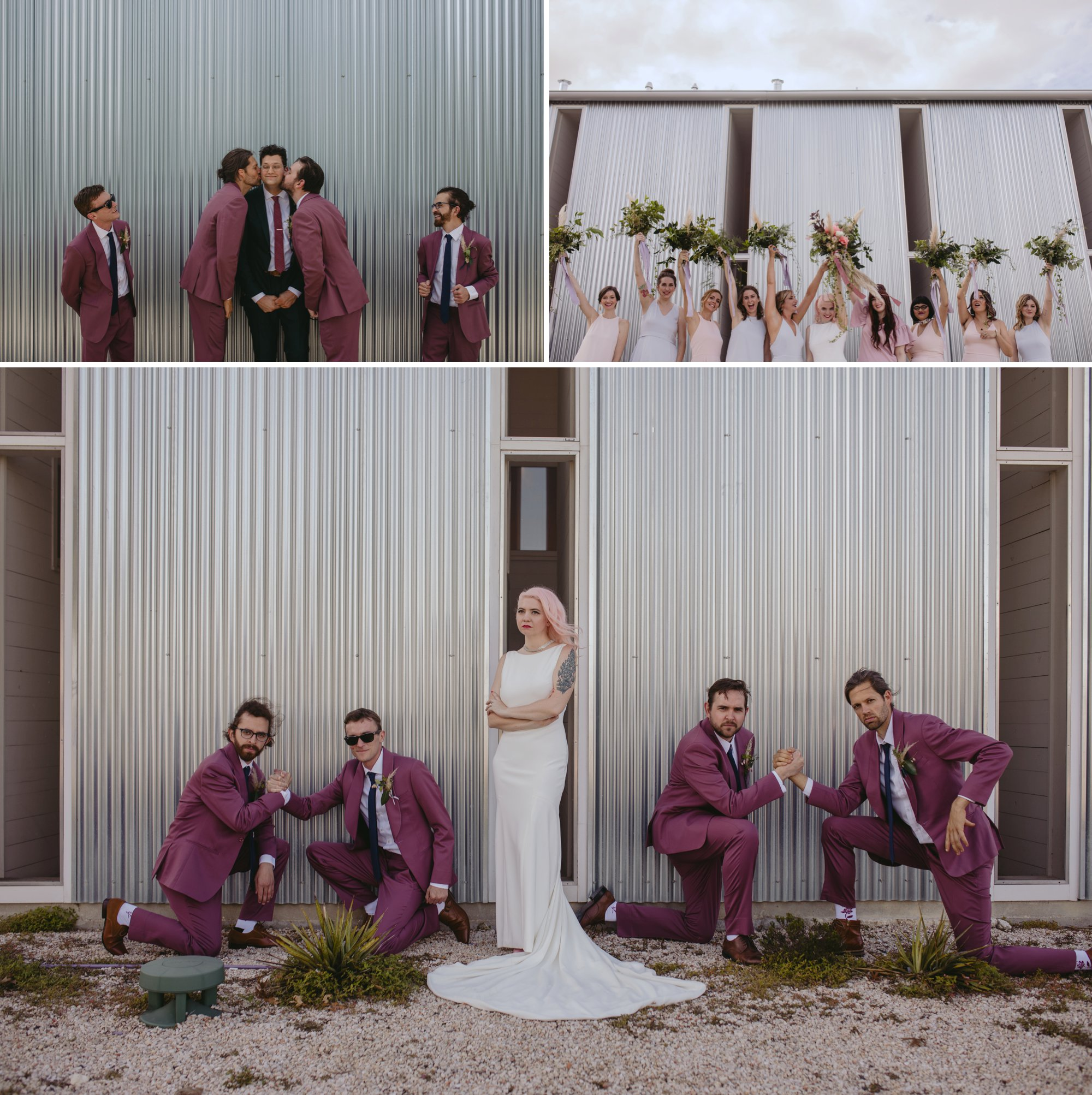 Bride with pink hair and groom in a purple suit prospect house wedding in austin tx with pastel decor and wild florals bridal party shots