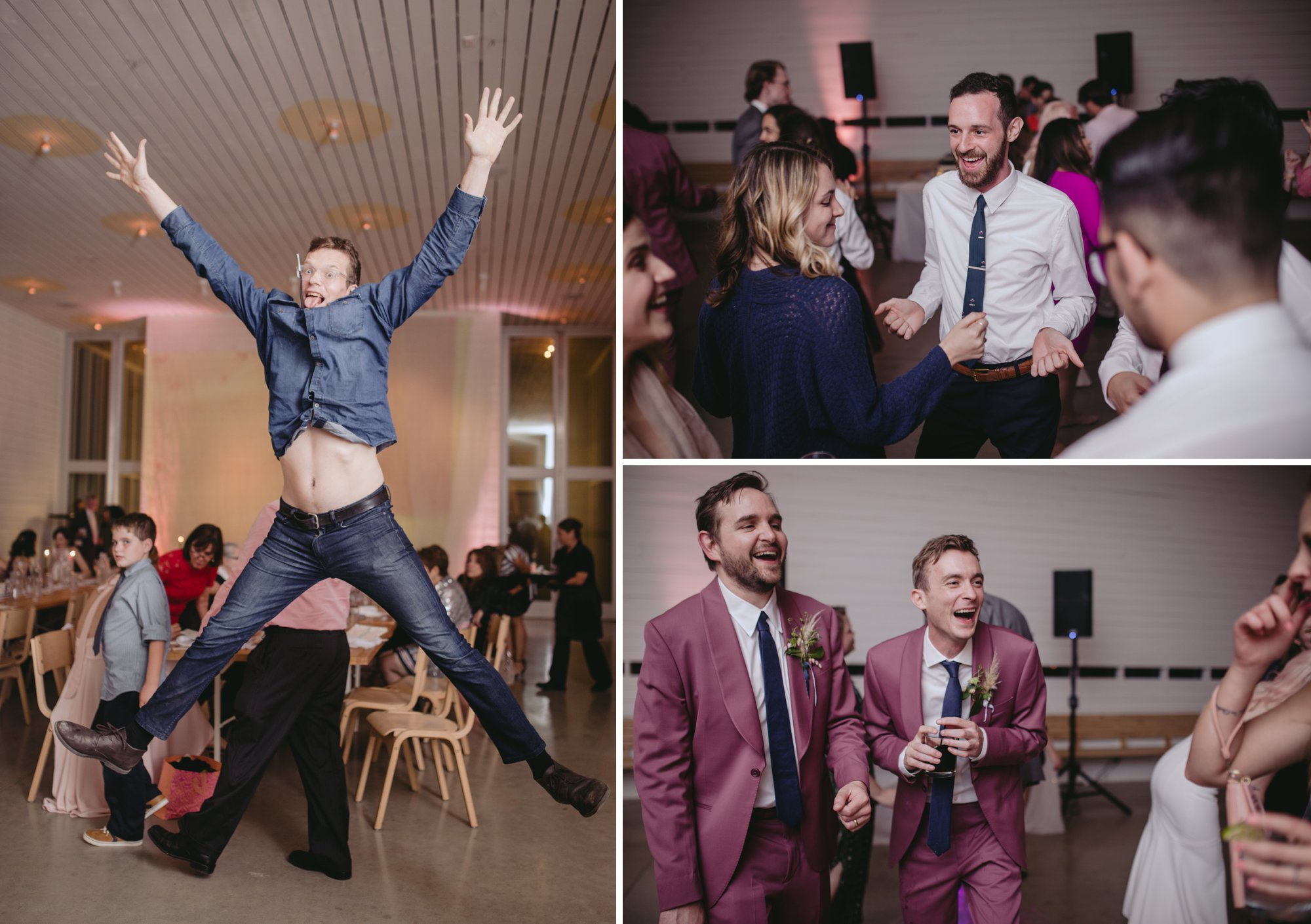 Bride with pink hair and groom in a purple suit prospect house wedding in austin tx with pastel decor and wild florals party dancing reception
