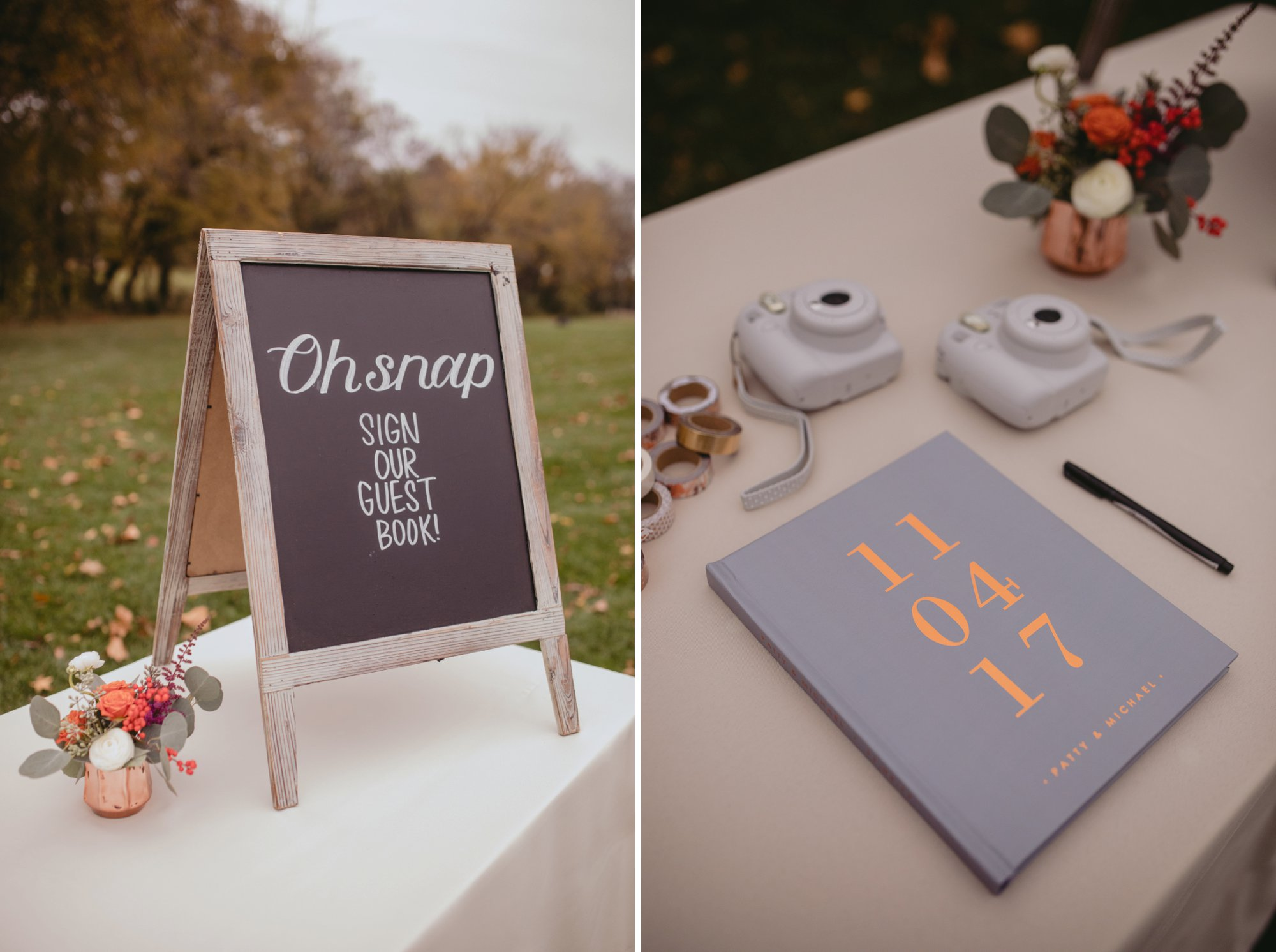 Autumn Richmond VA winery wedding at Upper Shirley Vineyards with lush garden florals and old Hollywood glamour guestbook instax