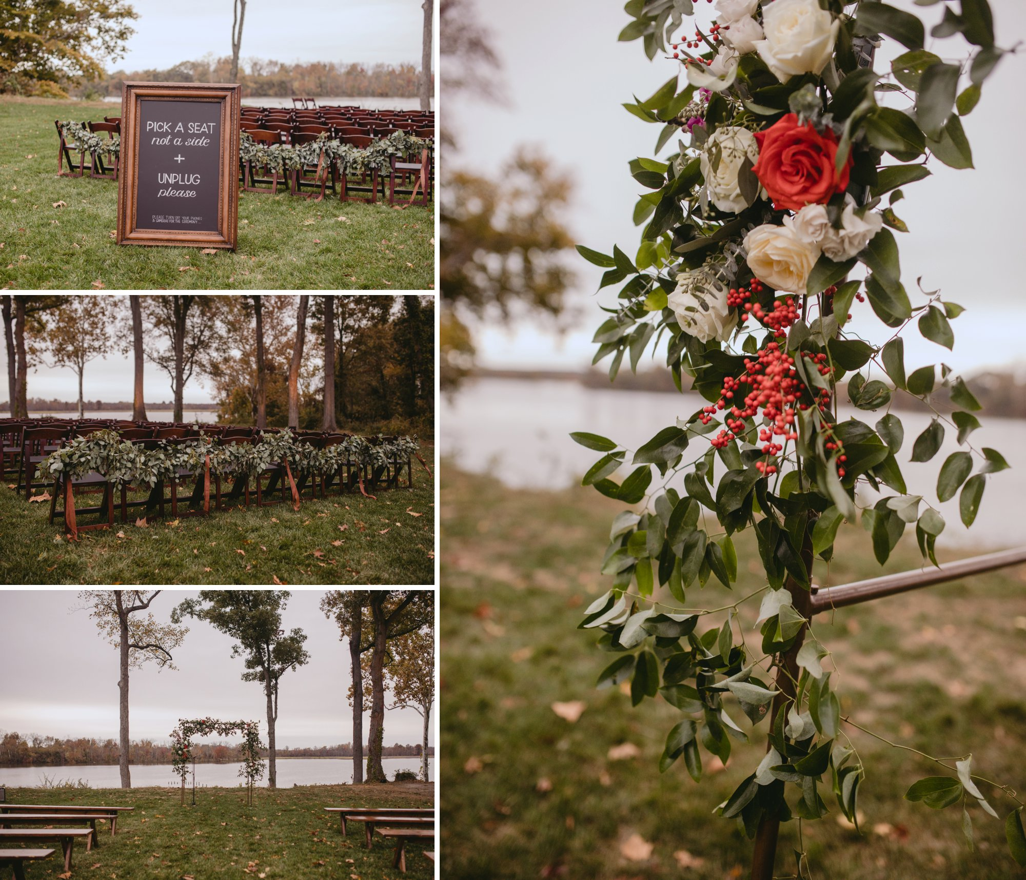Autumn Richmond VA winery wedding at Upper Shirley Vineyards with lush garden florals and old Hollywood glamour ceremony details