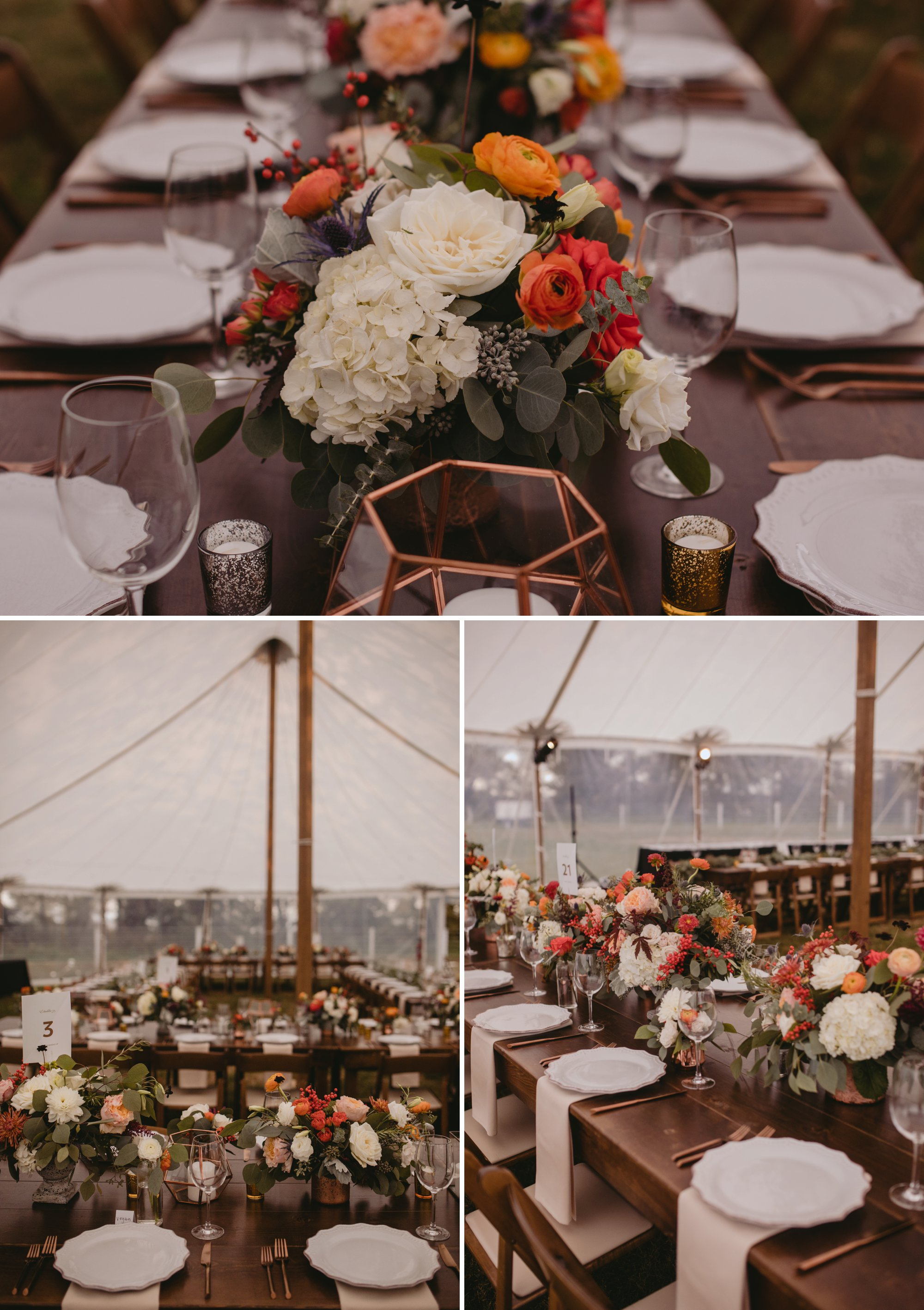 Autumn Richmond VA winery wedding at Upper Shirley Vineyards with lush garden florals and old Hollywood glamour table settings