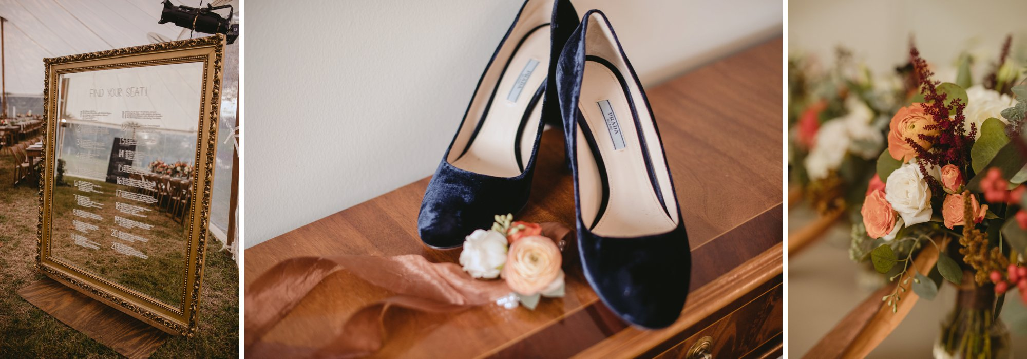Autumn Richmond VA winery wedding at Upper Shirley Vineyards with lush garden florals and old Hollywood glamour getting ready details