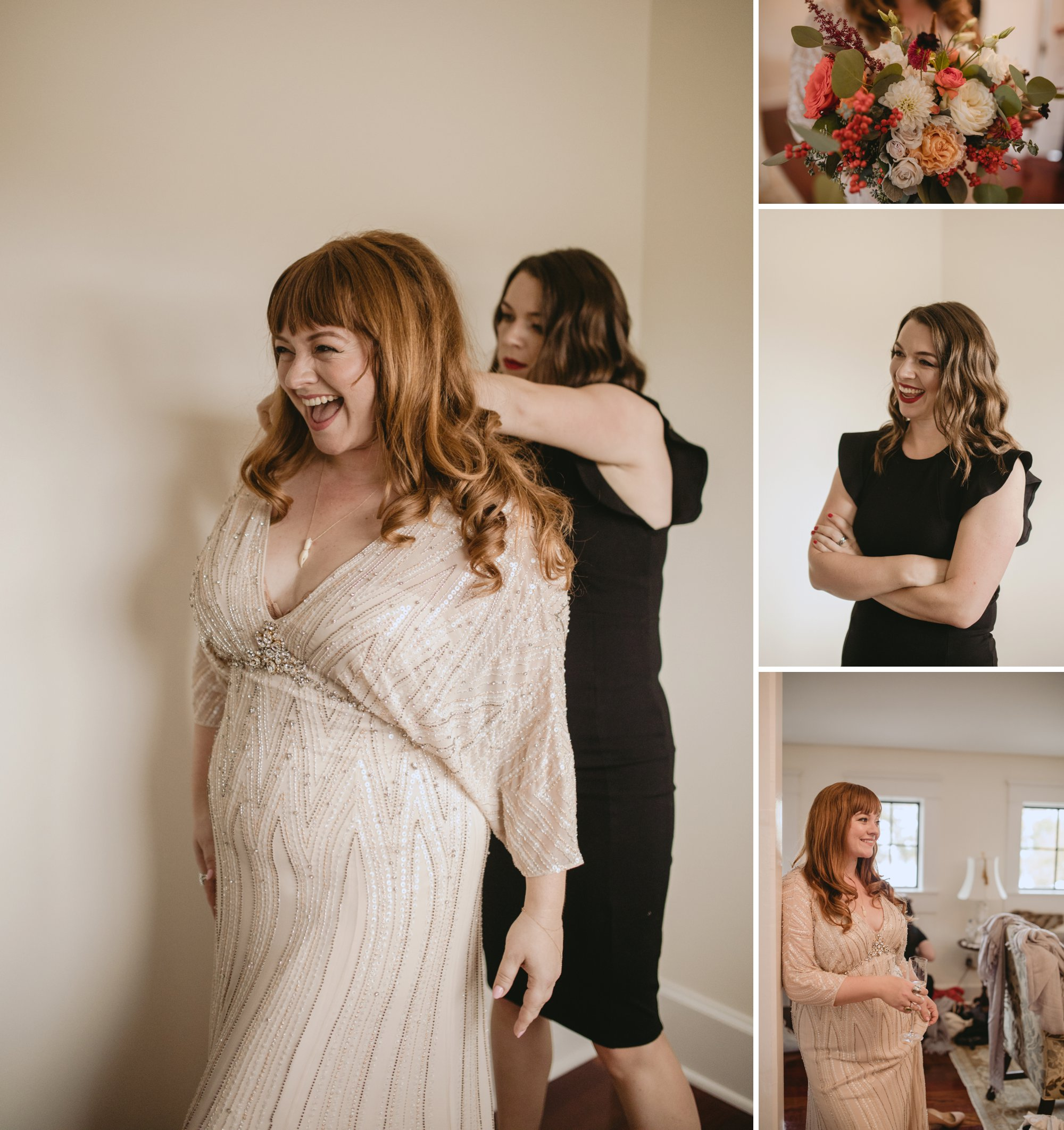 Autumn Richmond VA winery wedding at Upper Shirley Vineyards with lush garden florals and old Hollywood glamour bridal prep