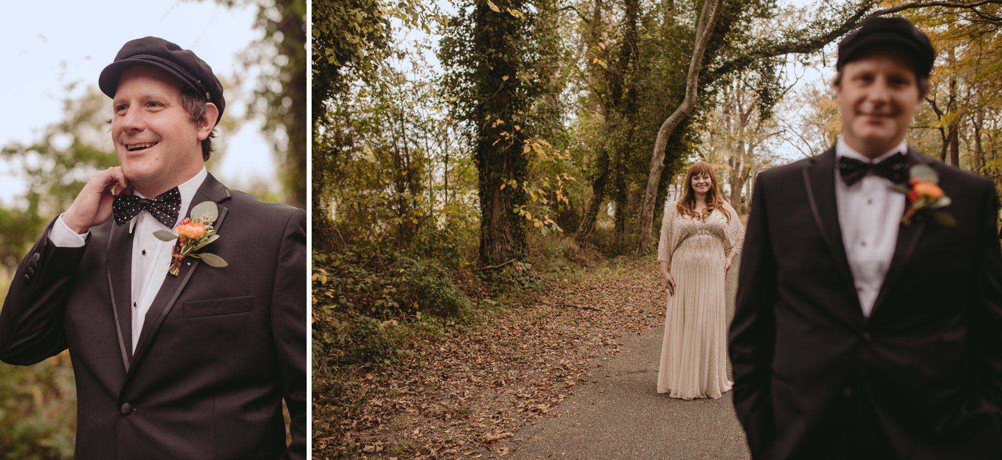 Autumn Richmond VA winery wedding at Upper Shirley Vineyards with lush garden florals and old Hollywood glamour first look