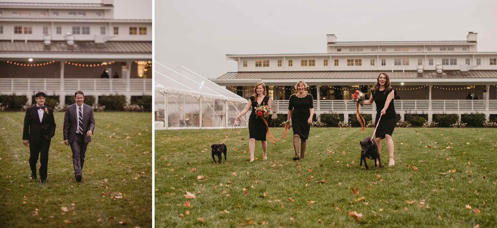 Autumn Richmond VA winery wedding at Upper Shirley Vineyards with lush garden florals and old Hollywood glamour processional