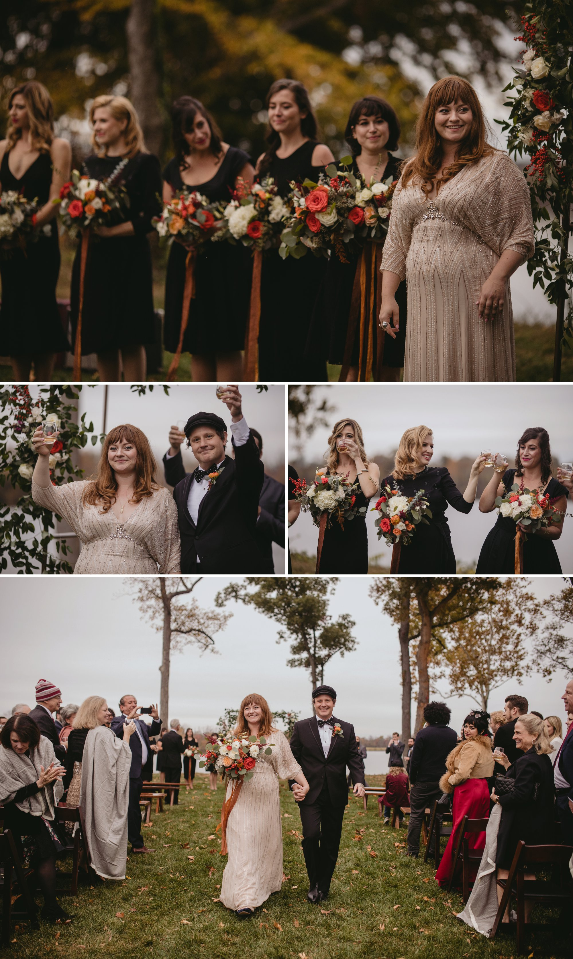 Autumn Richmond VA winery wedding at Upper Shirley Vineyards with lush garden florals and old Hollywood glamour recessional