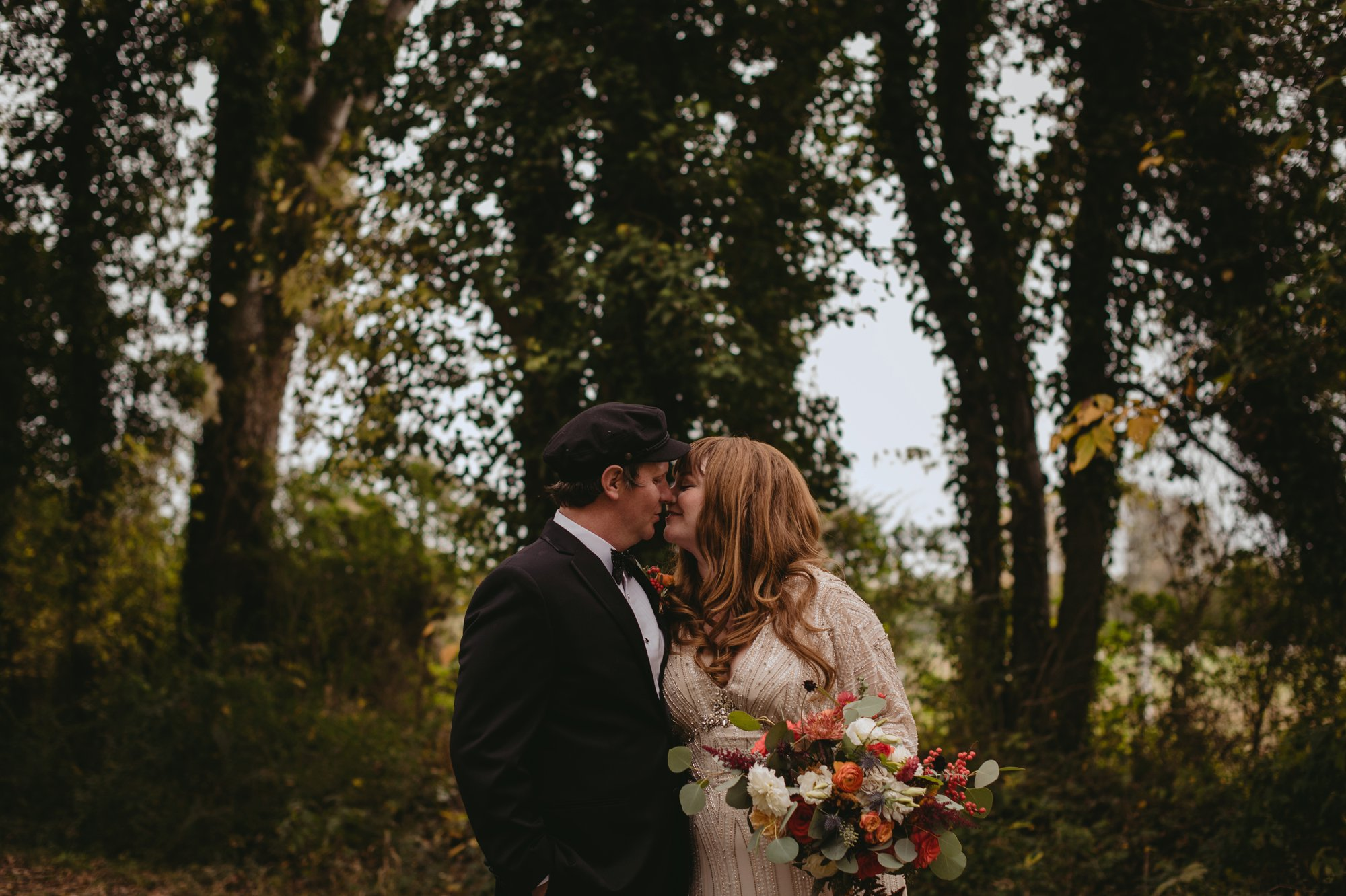 Autumn Richmond VA winery wedding at Upper Shirley Vineyards with lush garden florals and old Hollywood glamour portrait