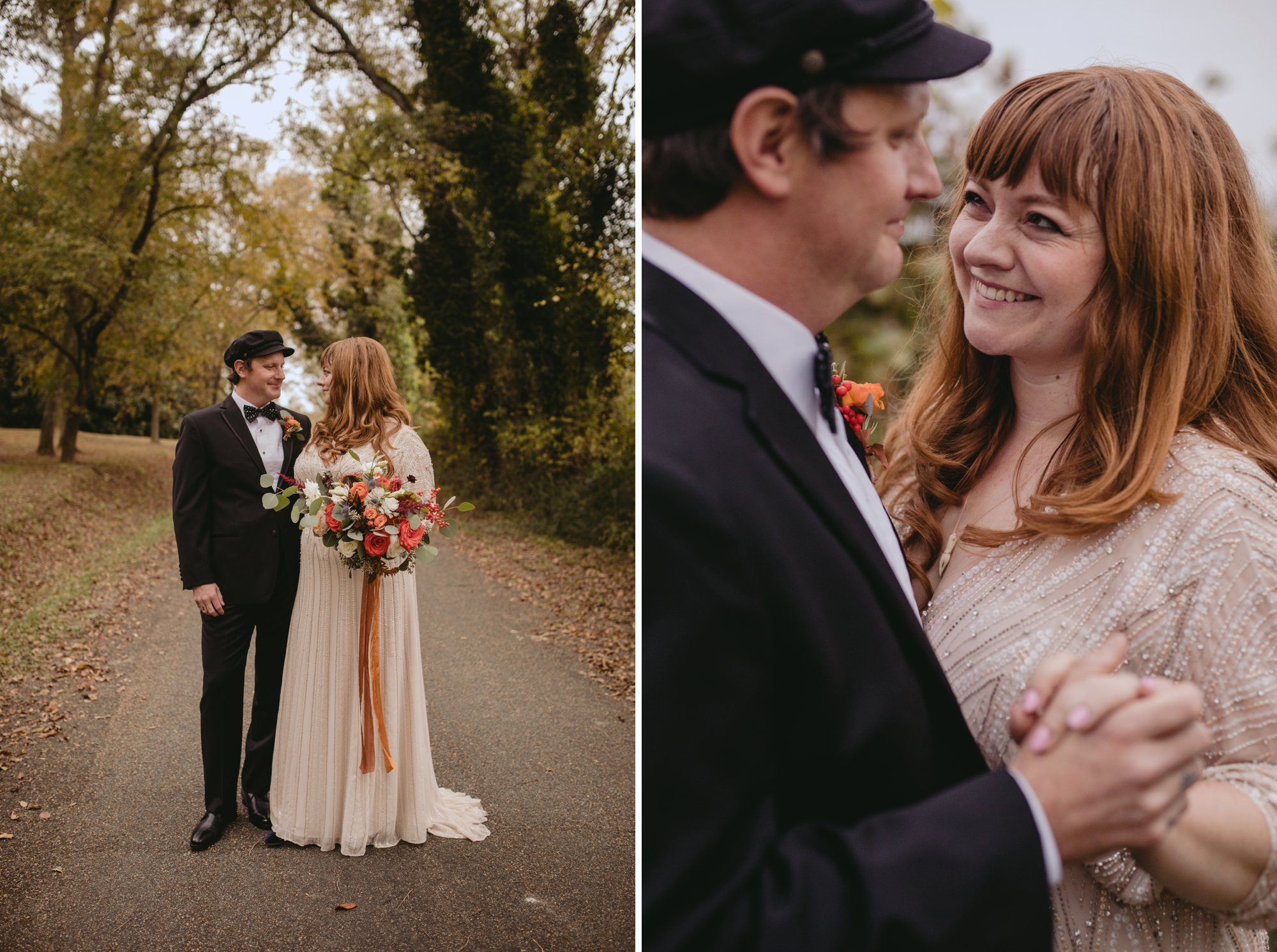 Autumn Richmond VA winery wedding at Upper Shirley Vineyards with lush garden florals and old Hollywood glamour