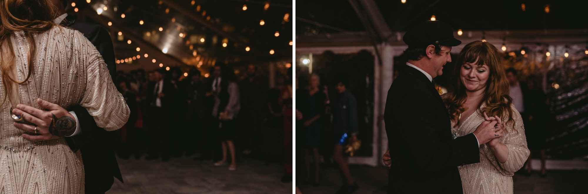Autumn Richmond VA winery wedding at Upper Shirley Vineyards with lush garden florals and old Hollywood glamour couple dancing