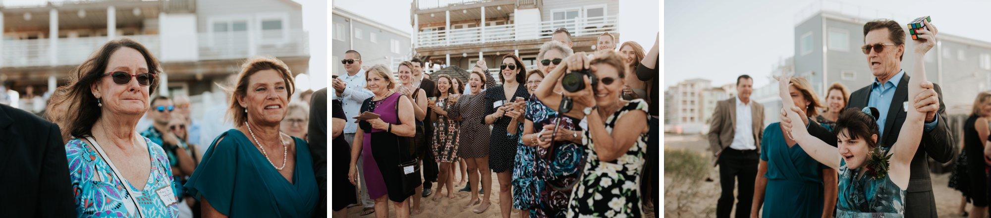Low key backyard beach wedding in Sandbridge, VA friends family