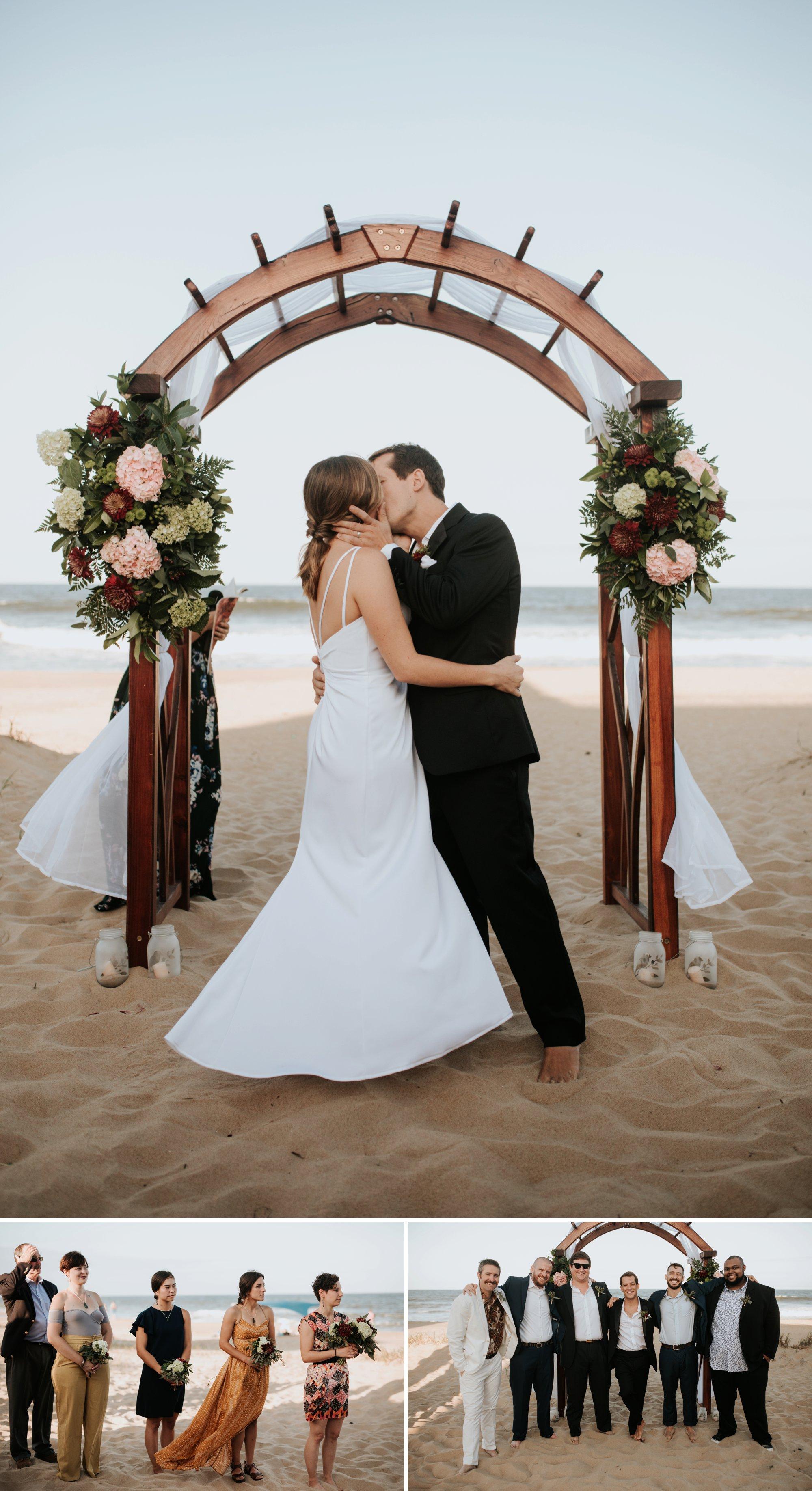 Low key backyard beach wedding in Sandbridge, VA kiss