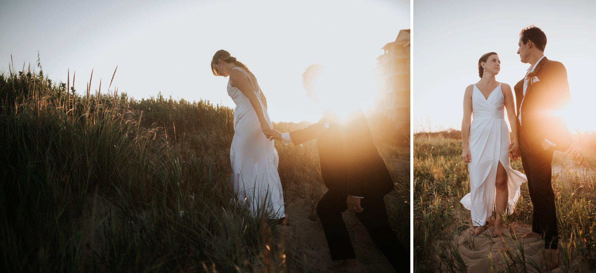 Low key backyard beach wedding in Sandbridge, VA dune sunset