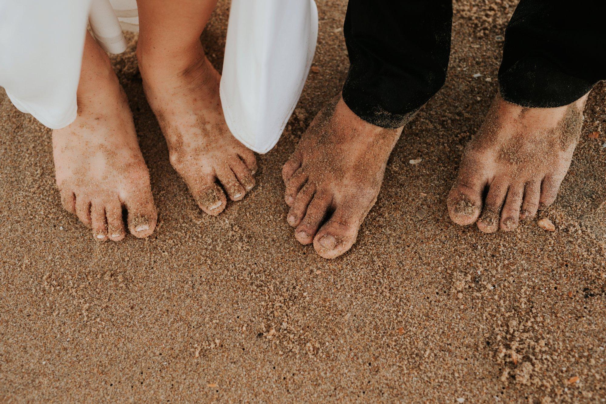 Low key backyard beach wedding in Sandbridge, VA sandy feet