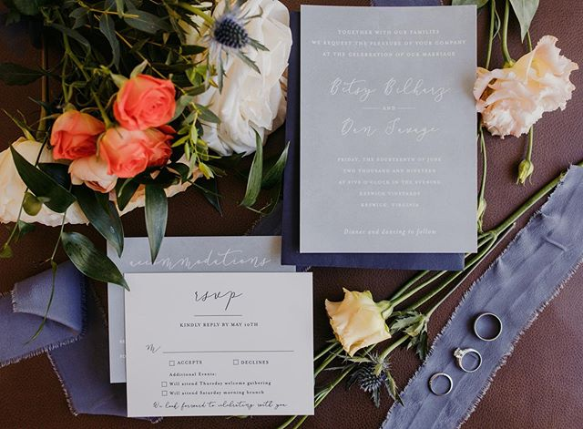 "So. I usually kinda suck at this kind of shot (called a ""flatlay"") but I loved this couple and the planners (@thehiveweddingco) so much that I gave it a try (plus they pulled a Tim Gunn and told me to Make it Work). It helped that I had some delicious props (ie flowers and ribbon from @theproperpetal) and the best helper/cheerleader (hay @lcmacdaniel) so overall I'd call this a win!!"