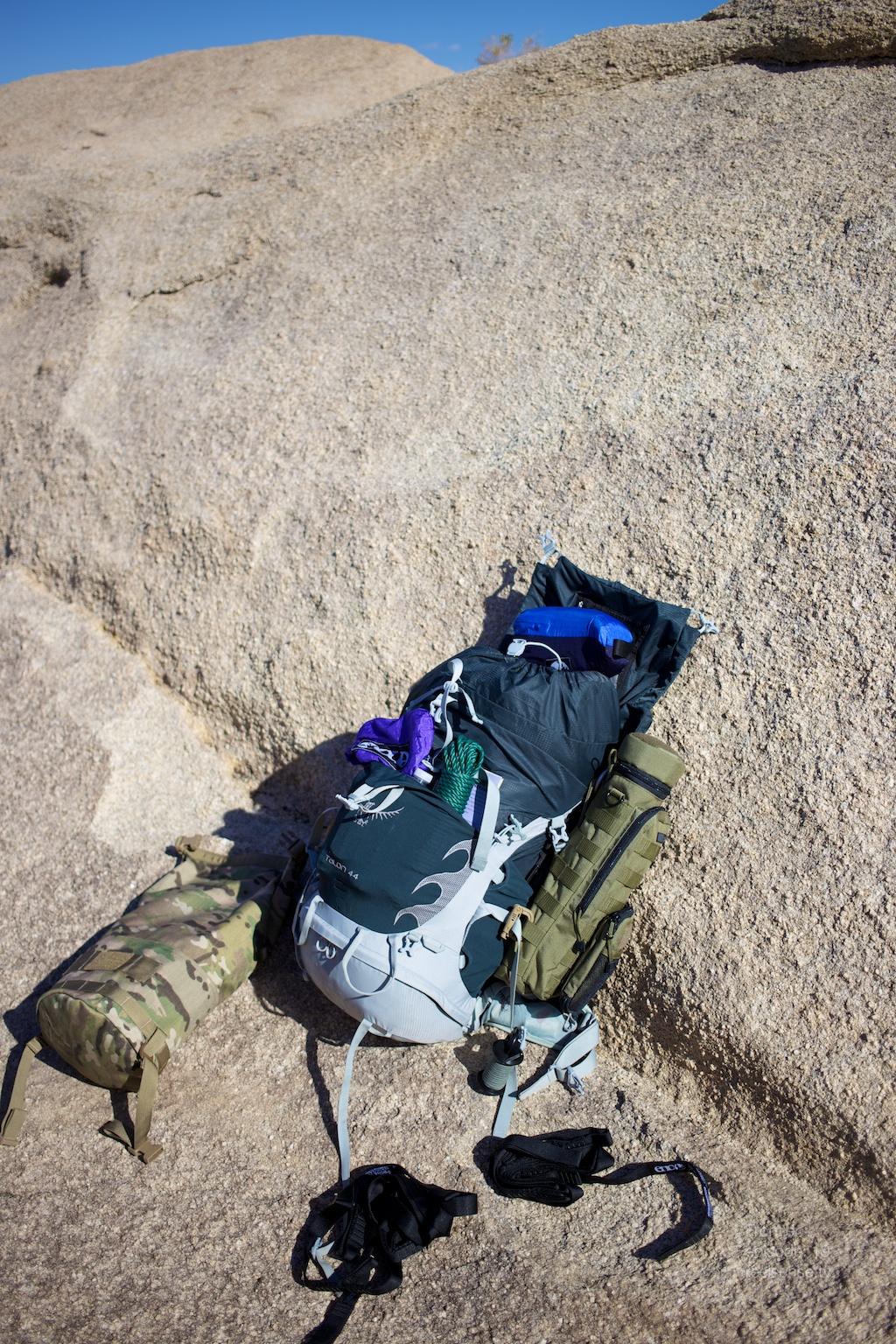 Joshua Tree - Osprey Talon 44 open on the rocks with GORUCK Brickbag