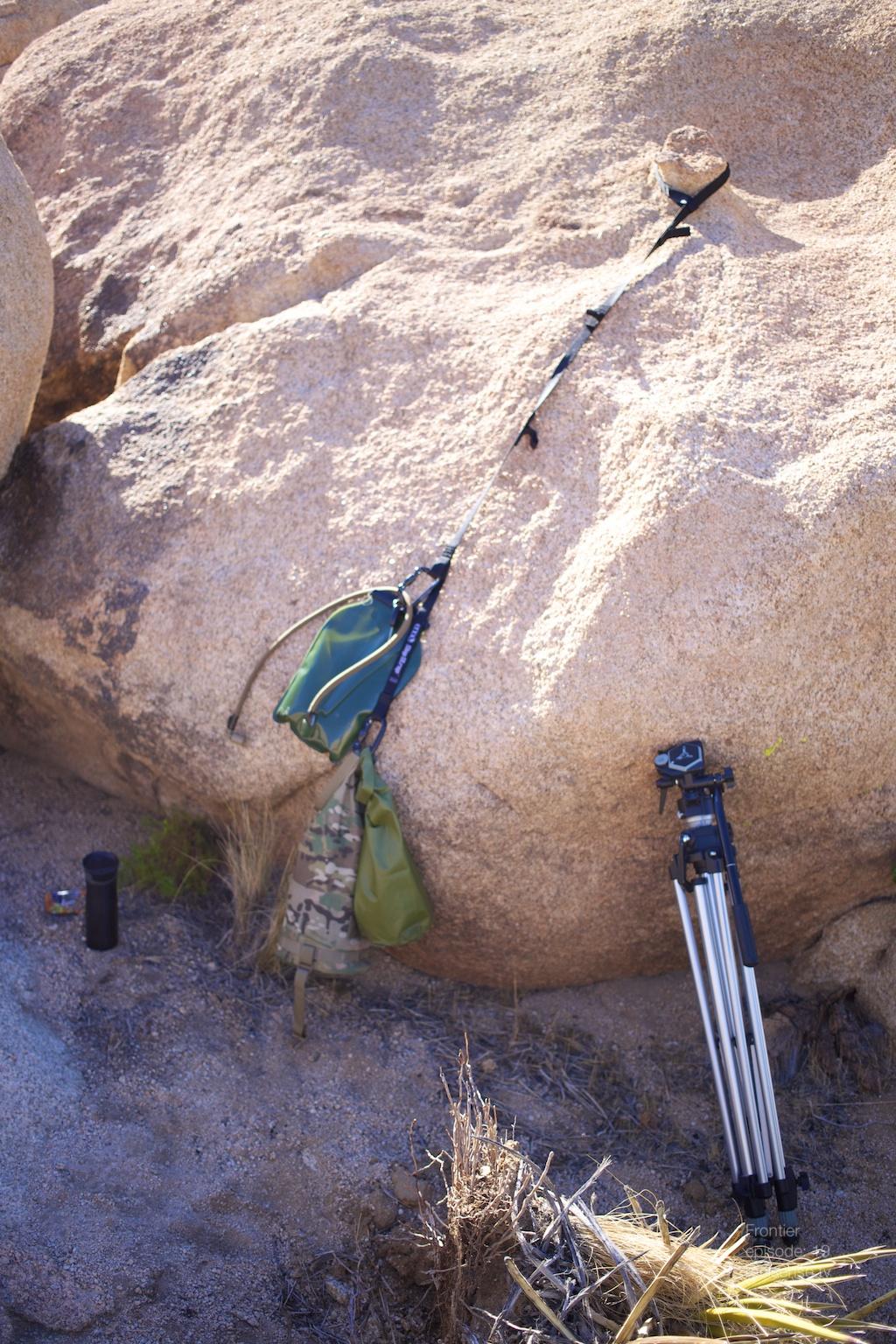 Joshua Tree - Gear and tripod setup in camp