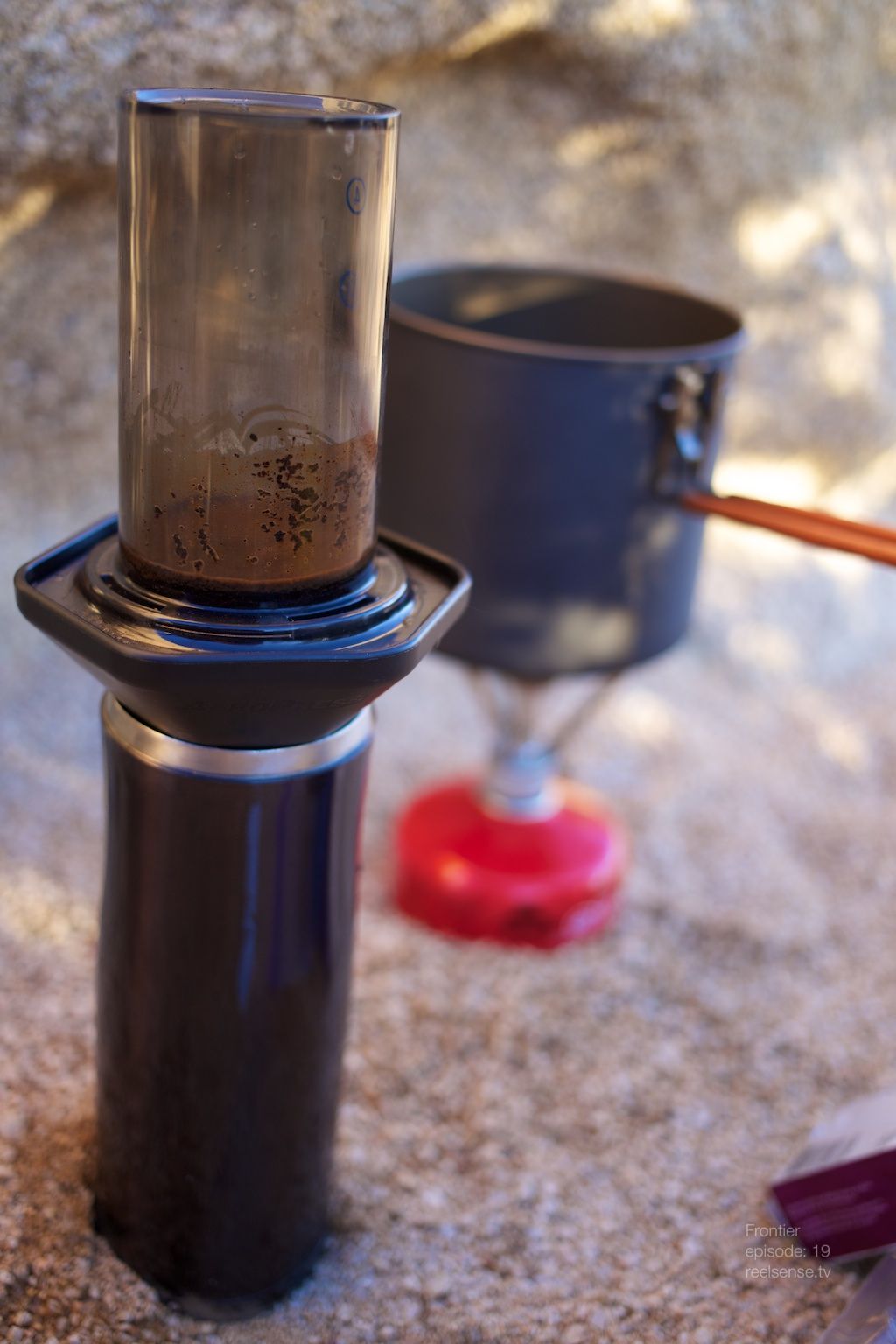 Joshua Tree - AeroPress coffee maker and MSR Pocket Rocket
