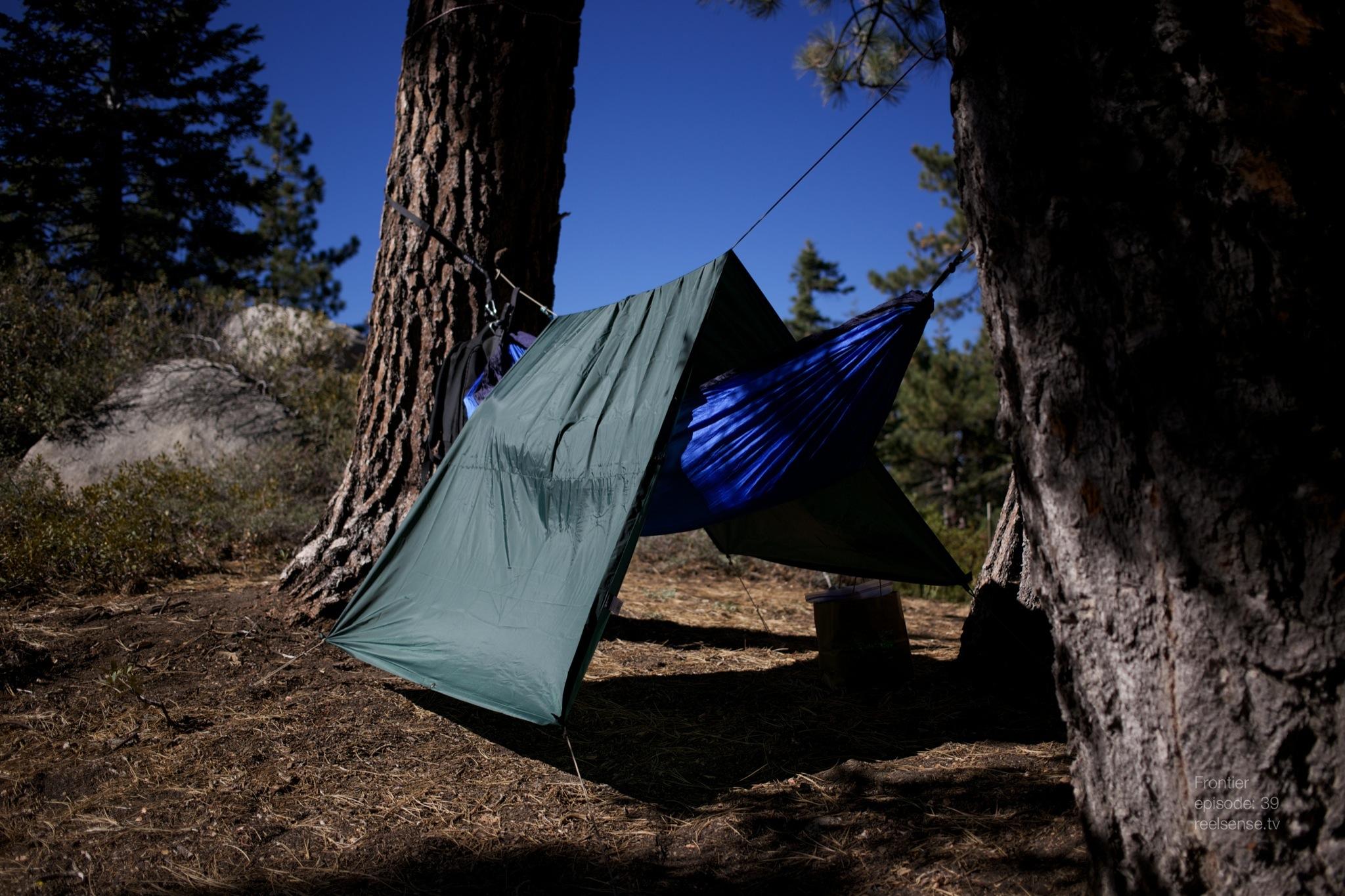 Big Bear, CA - Hammock under poncho tent