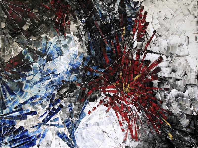 La grille de composition deFibonacci appliquée au-dessus de l'œuvre.   Fibonacci composition grid overlay.