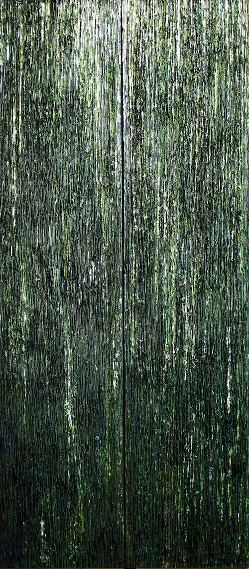"""Cénote  —2014, huile sur toile, 72"""" x 32"""" x 3"""""""