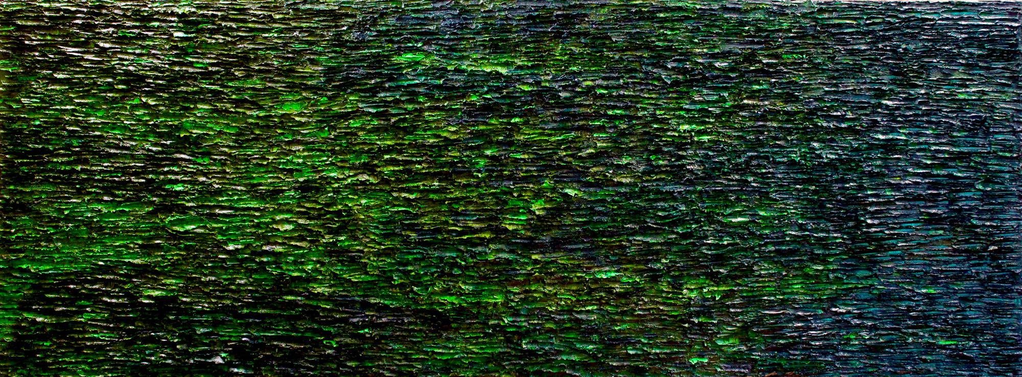 """Taïga.2016,huile sur toile,36""""x 96""""x 3"""" (91 x 244 x 8 cm)"""