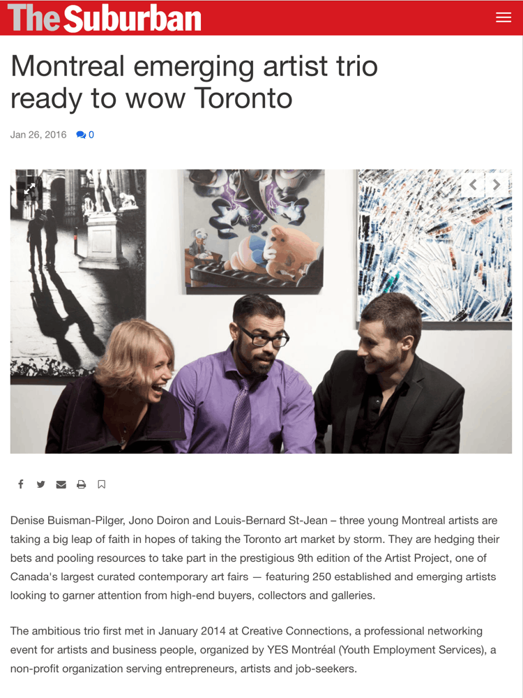 Montreal emerging artist trio ready to wow Toronto (Part 1 of 3)