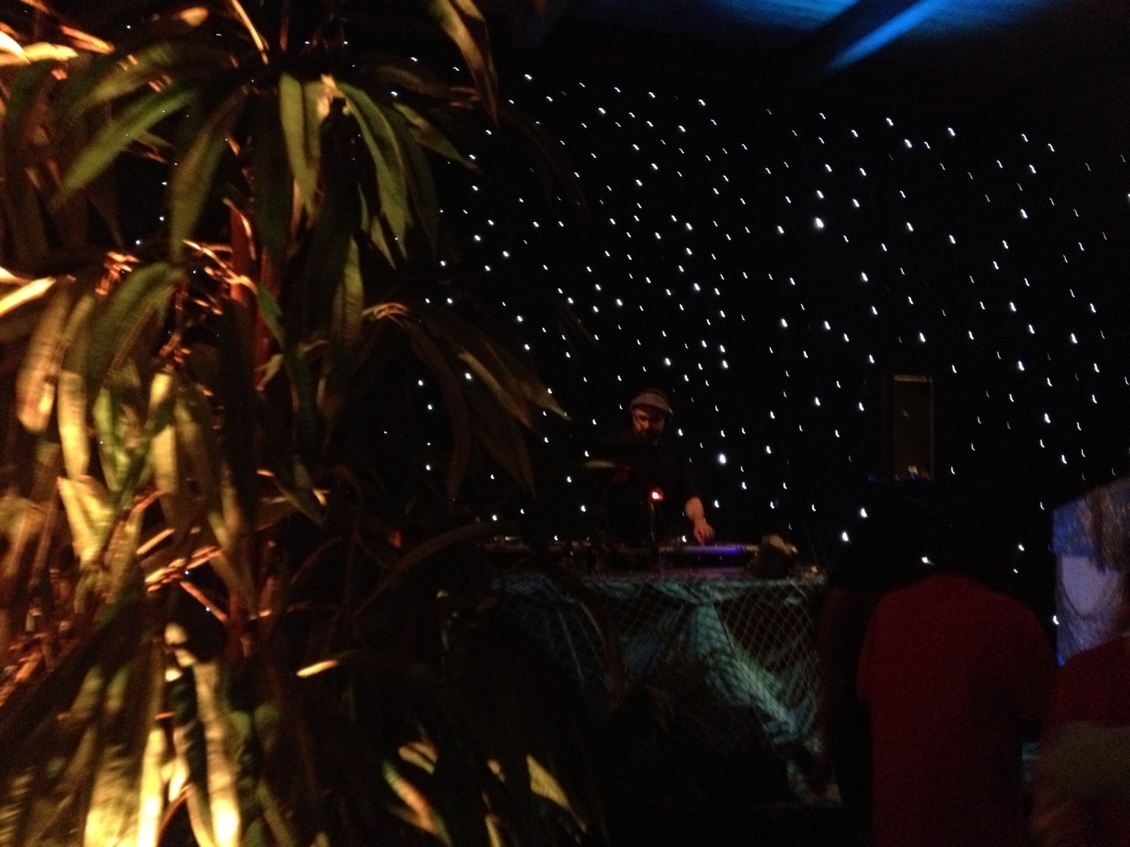 DJ Hammurabi rocking some beats in front of the star scape background!