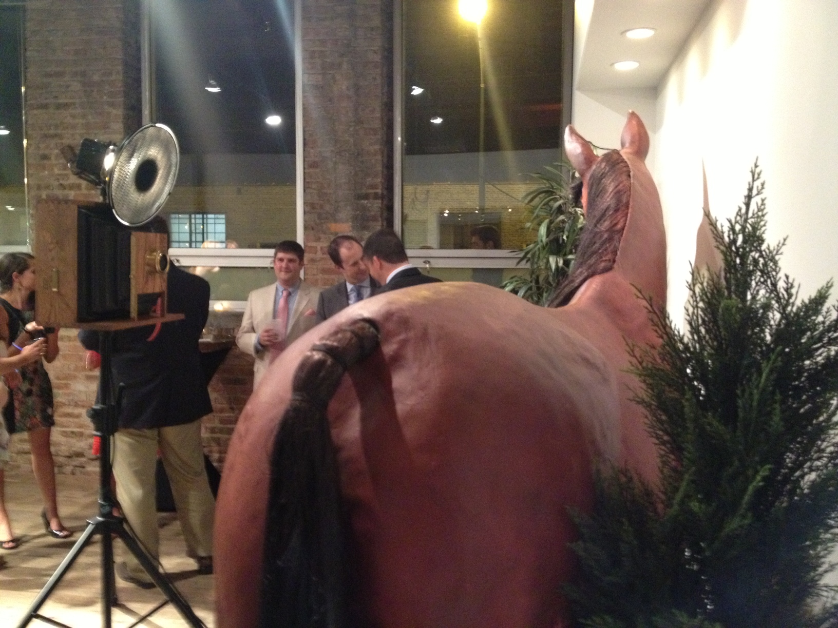 Horse and vintage wooden photo booth.