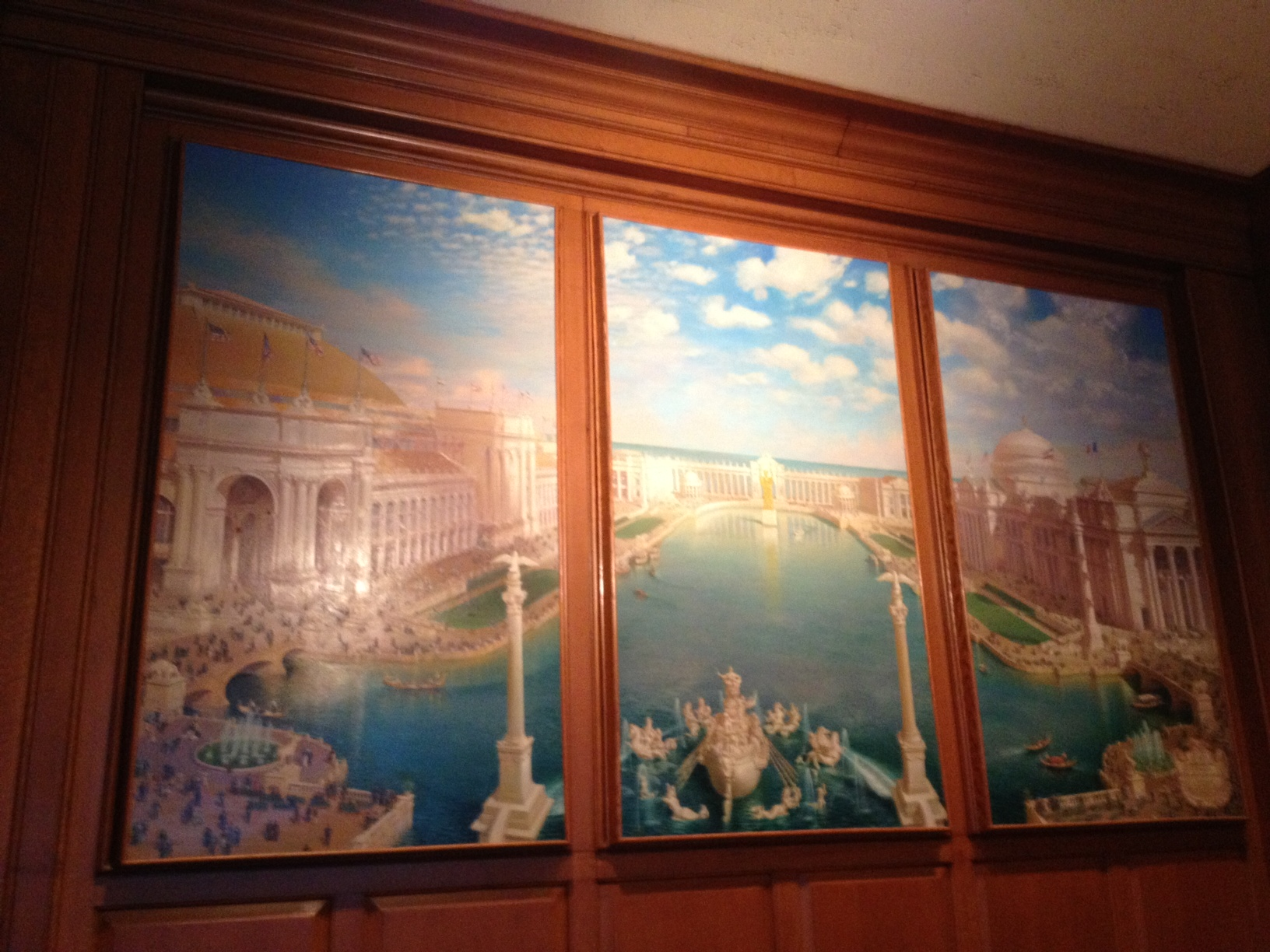 Tryptic Painted Mural in the Century Room.