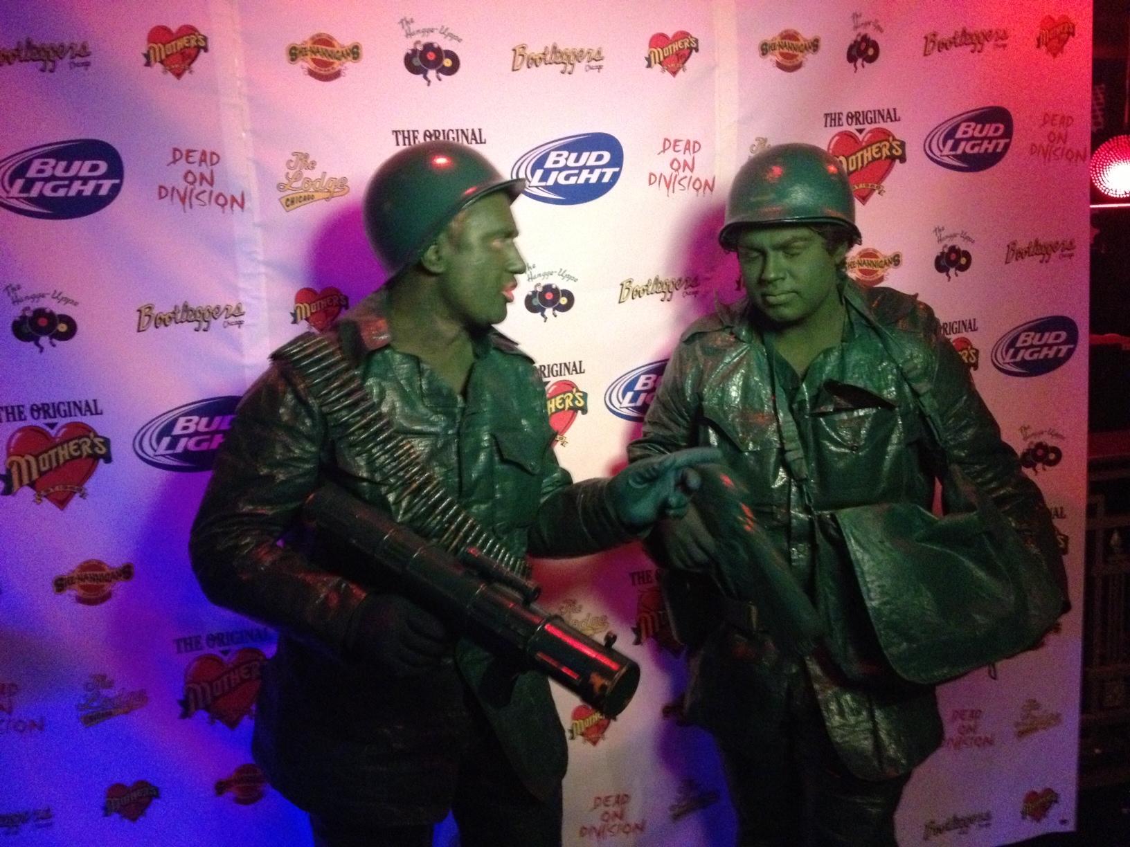 Green army guys Halloween costumes.
