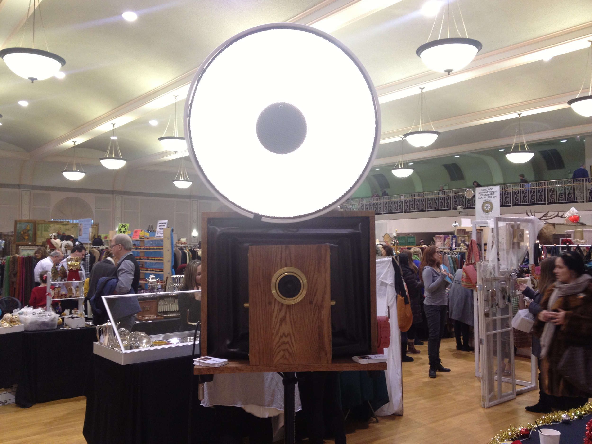 A picture of our vintage photo booth at the market in Plumbers Hall!