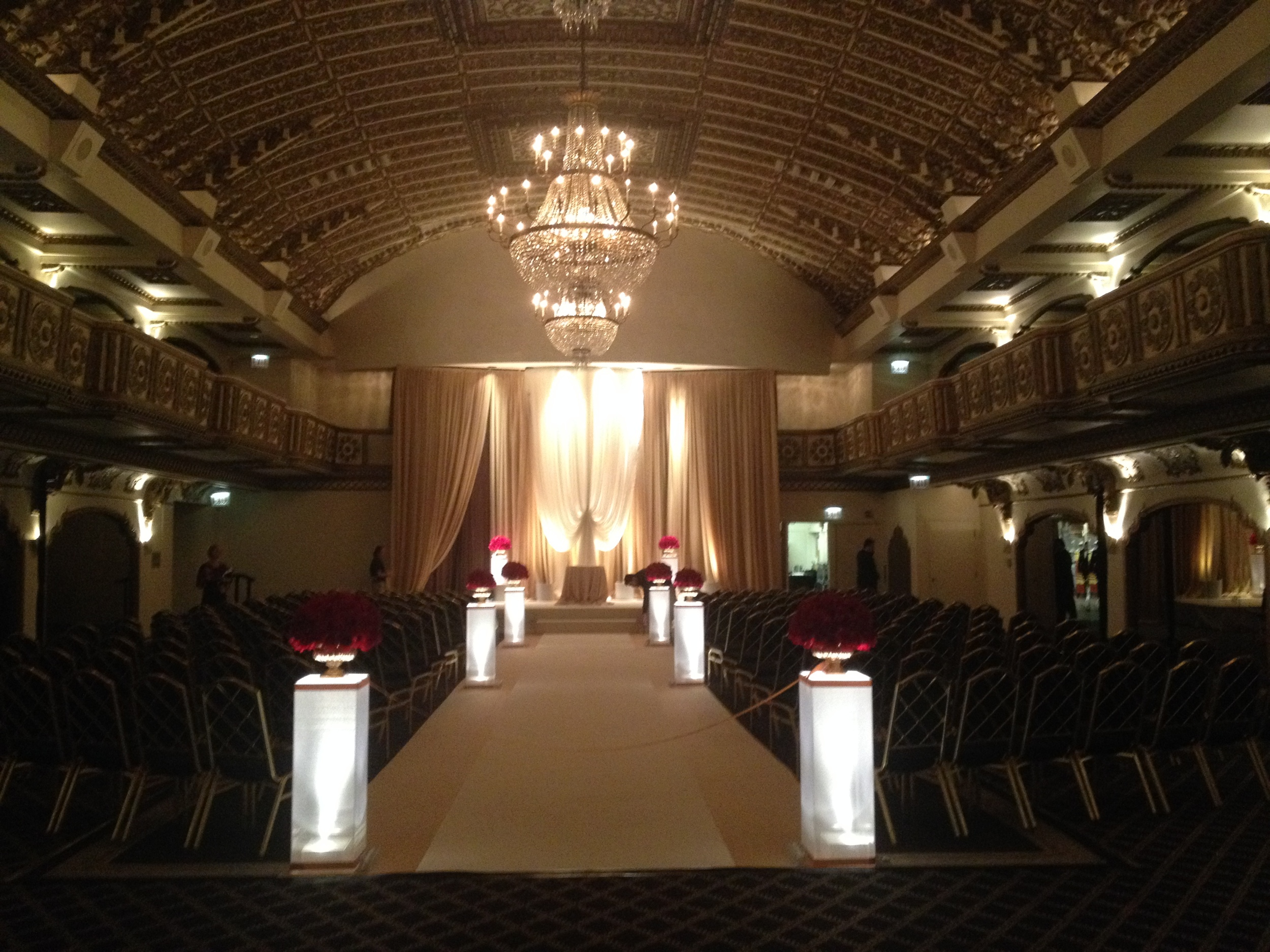 The wedding setup in the Crystal Ballroom.