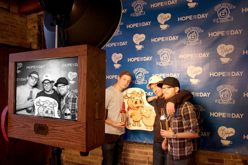 A picture of Uncle Dougie AKA Doug Tomek and his crew at Salvage One posing with Fotio Photo Booth!