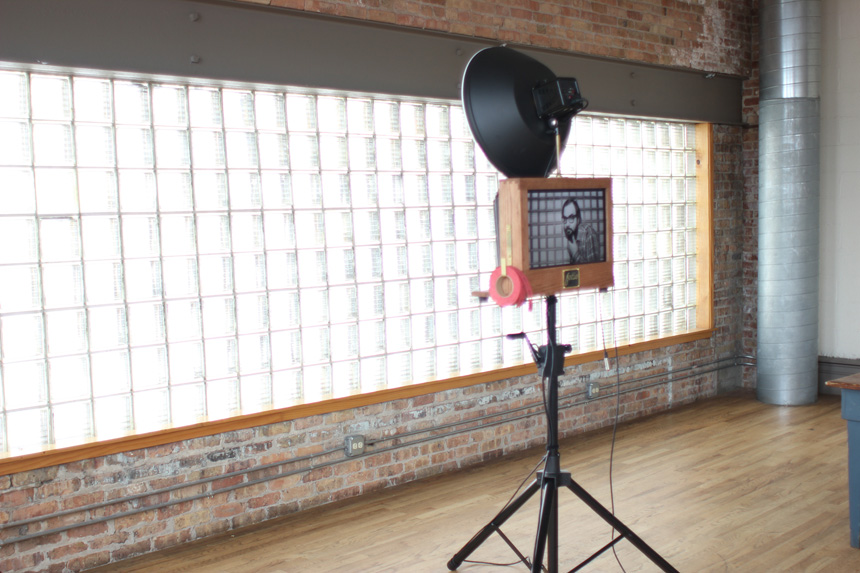Fotio photo booth setup in the loft area at Kitchen Chicago.
