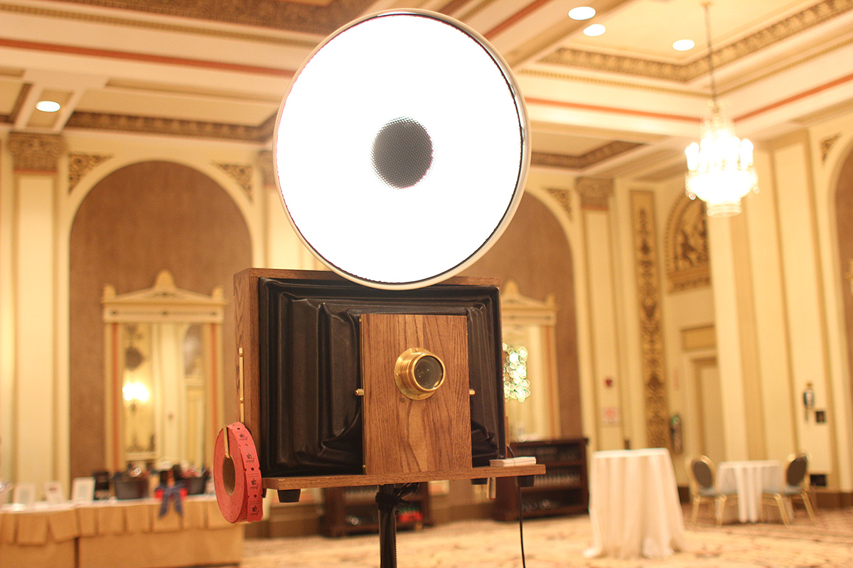 A Fotio Photo Booth setup in the Palmer House Grand Ballroom foyer space.