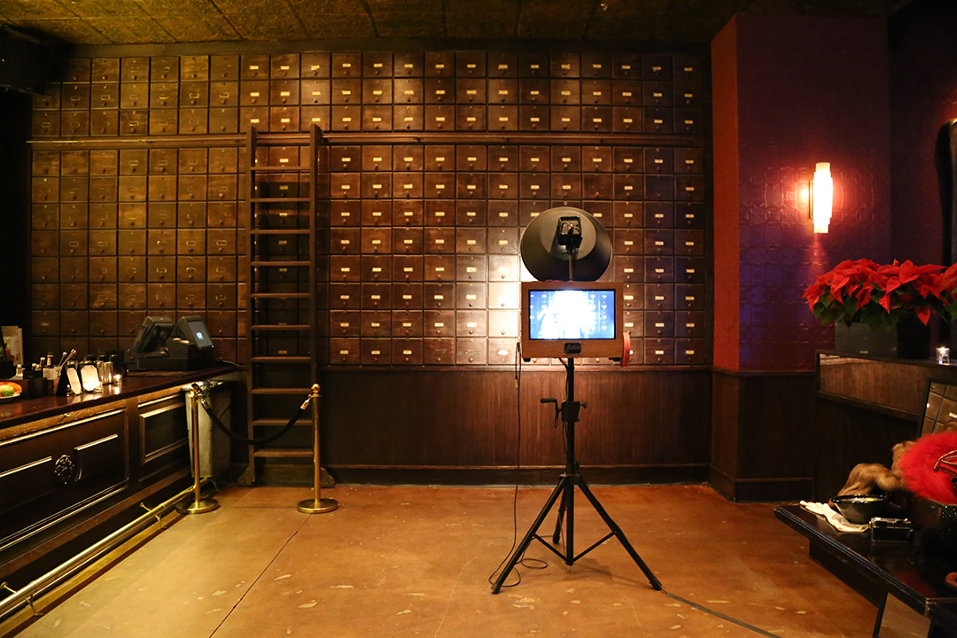 Fotio photo booth setup at Untitled Chicago in the Whiskey Library.